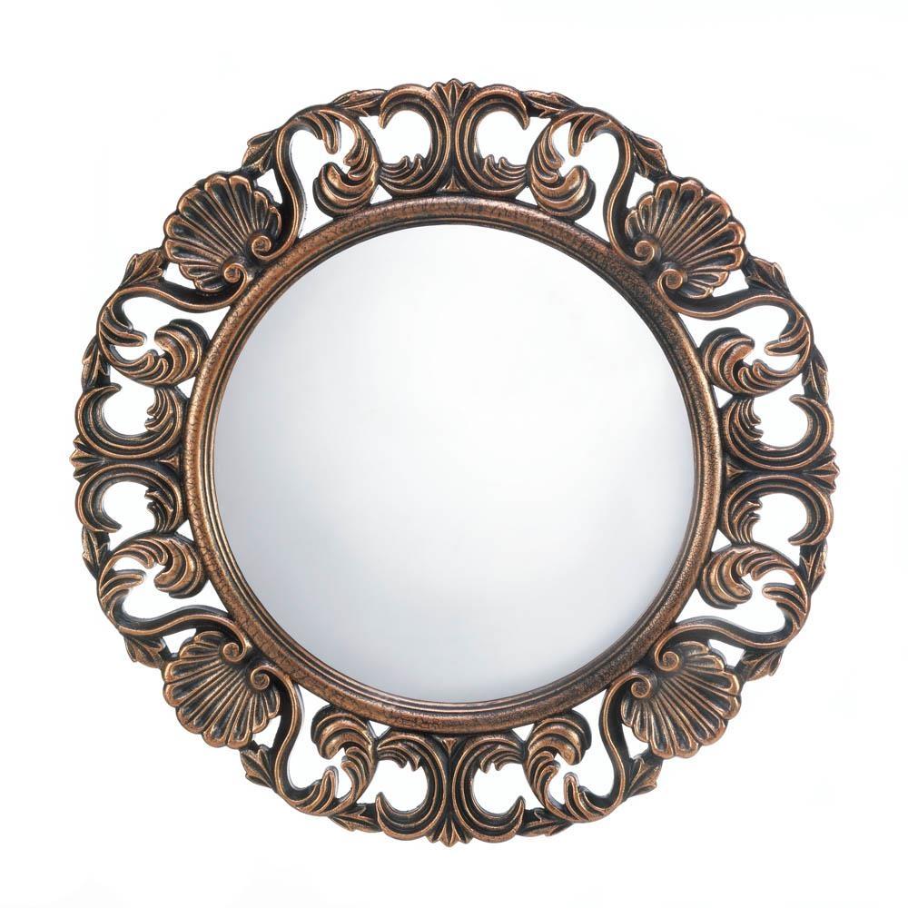 Round Wood Frame Wall Mirror