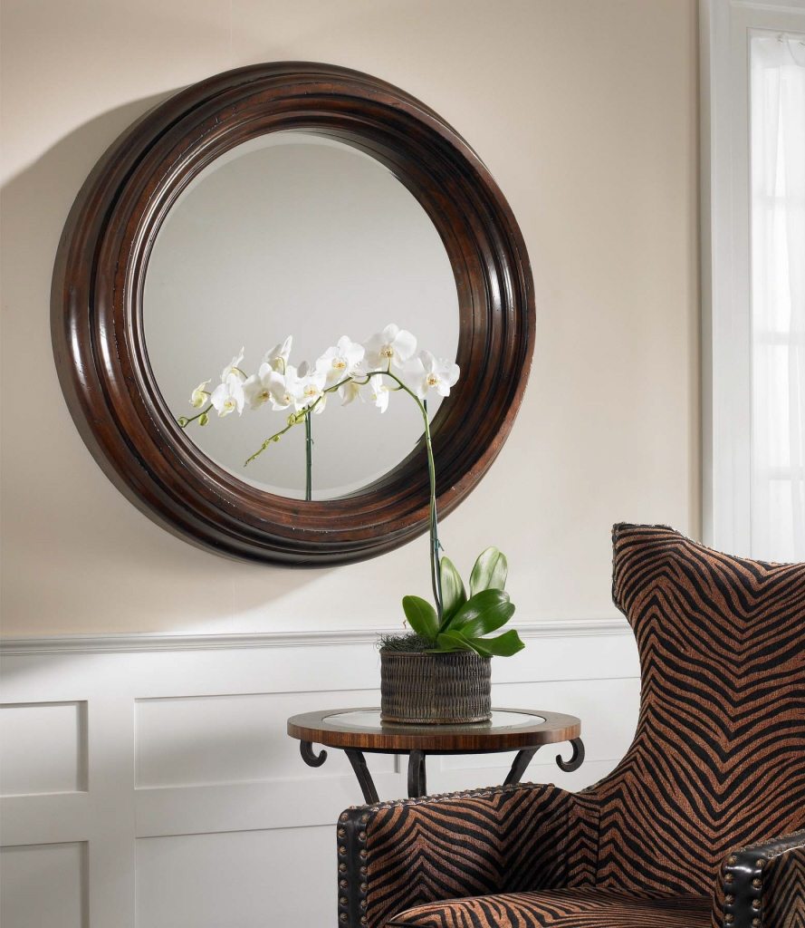Round Wood Framed Wall Mirror
