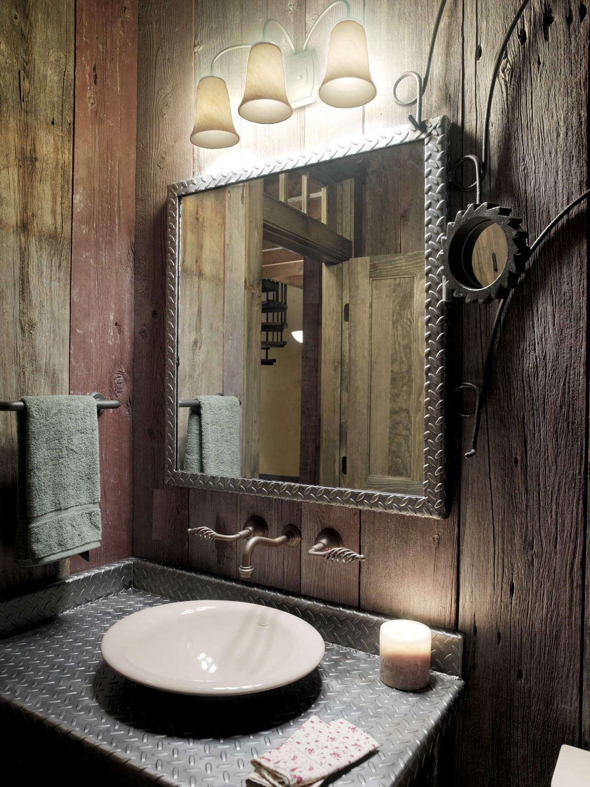 Rustic Metal Bathroom Mirrors