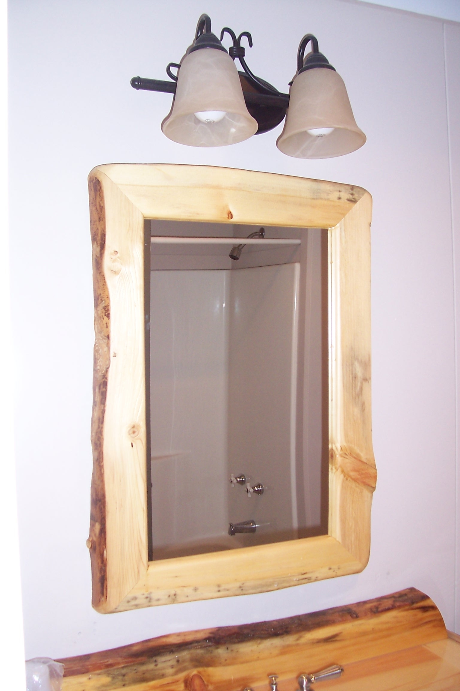Rustic Pine Bathroom Mirror
