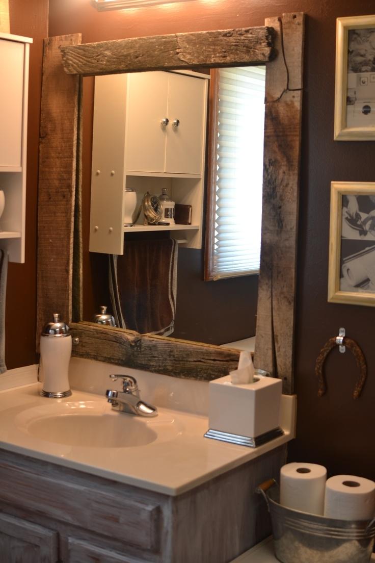 Rustic Wood Bathroom Mirror
