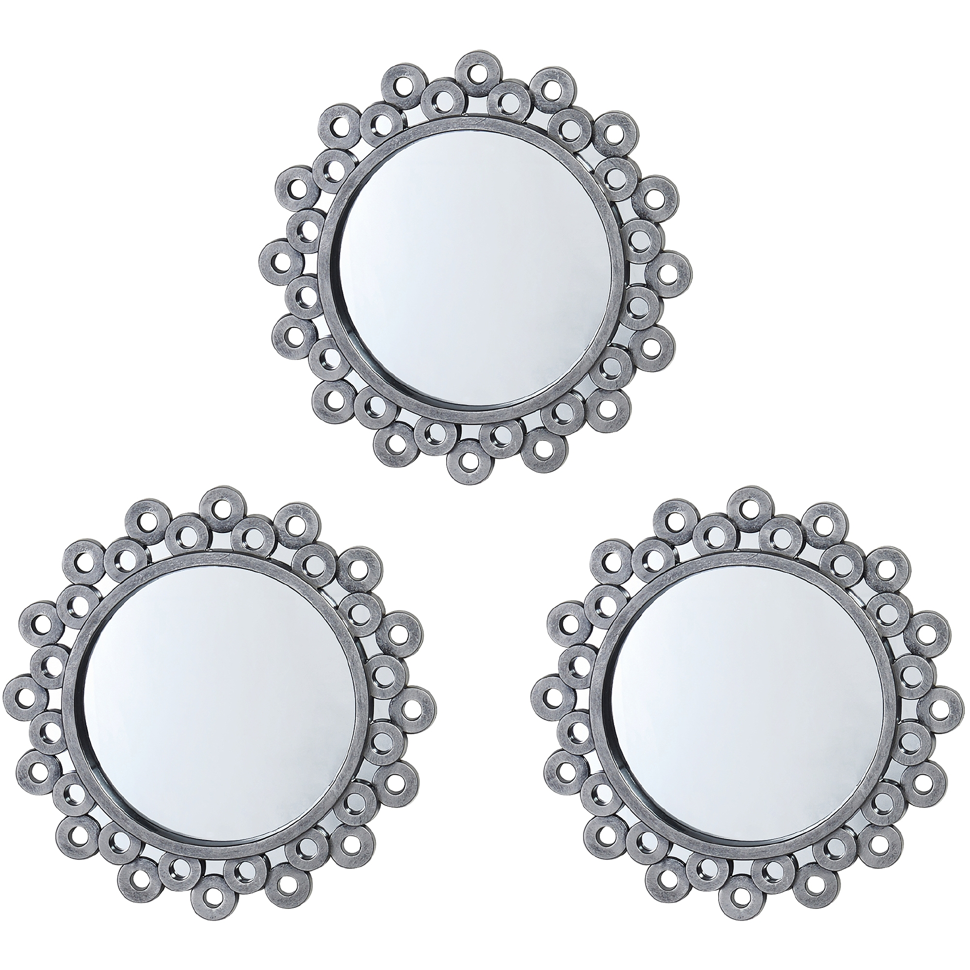 Set Of 3 White Wall Mirrors
