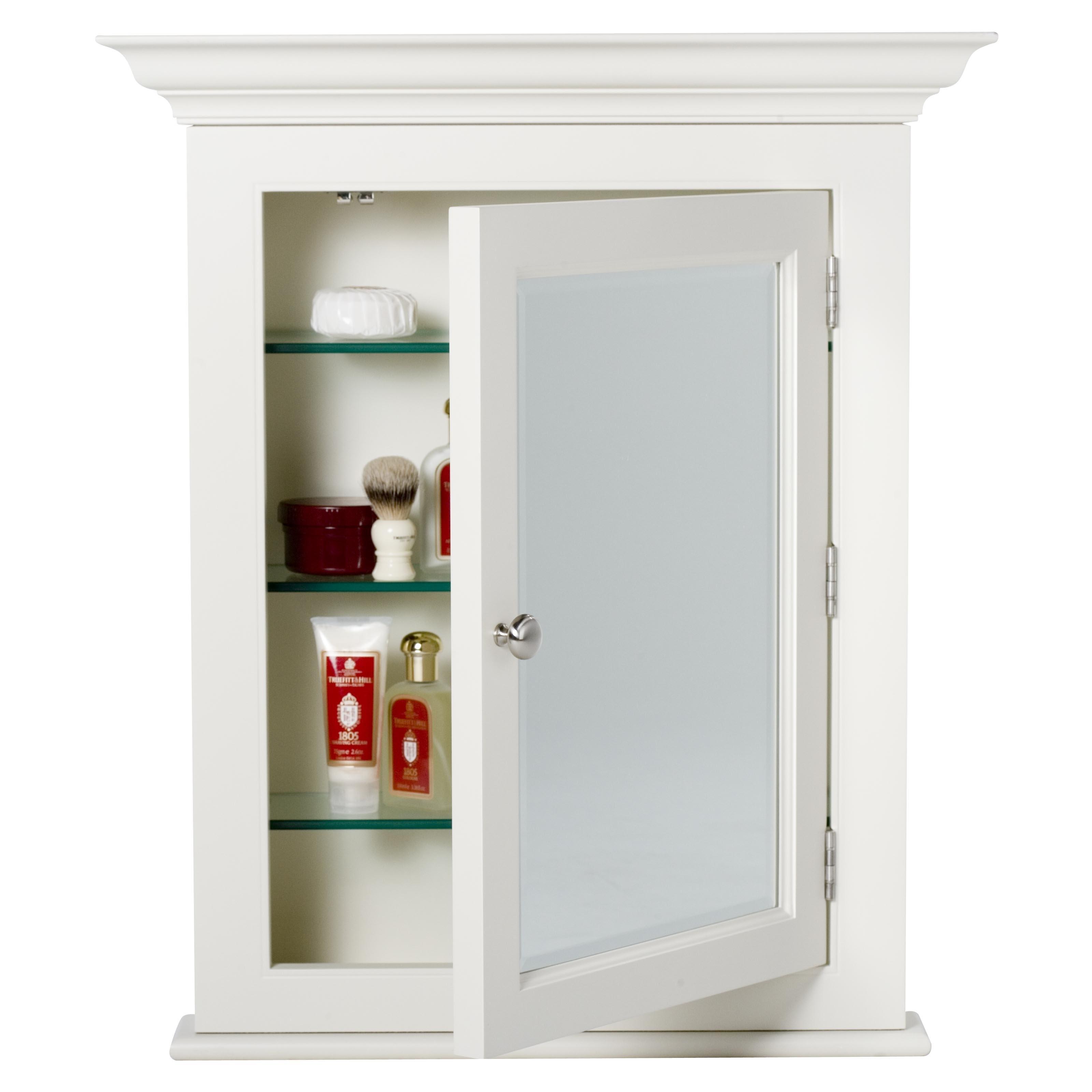 Shaker White Wood Bathroom Cabinet With Mirror Door
