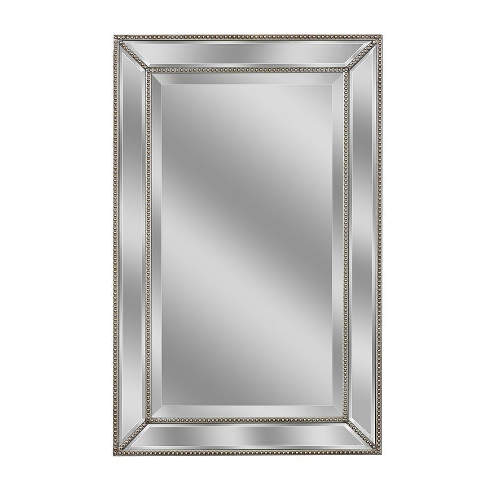 Silver Beaded Bathroom Mirror