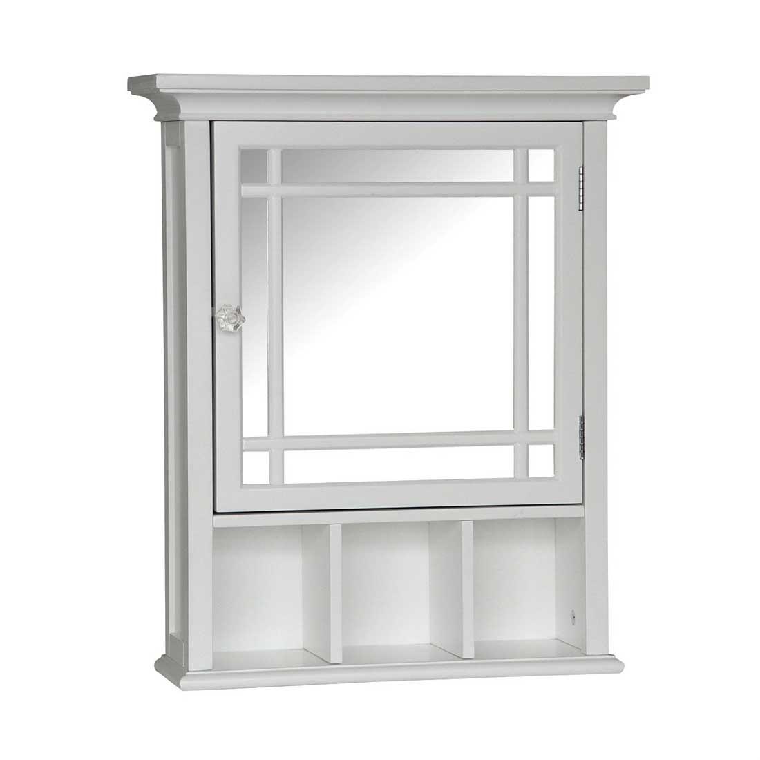 Single Mirror Bathroom Cabinet With Open Shelves