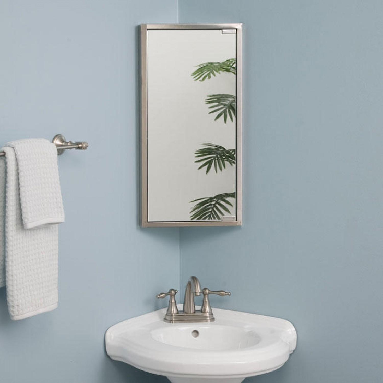 Small Corner Mirror Bathroom Cabinet