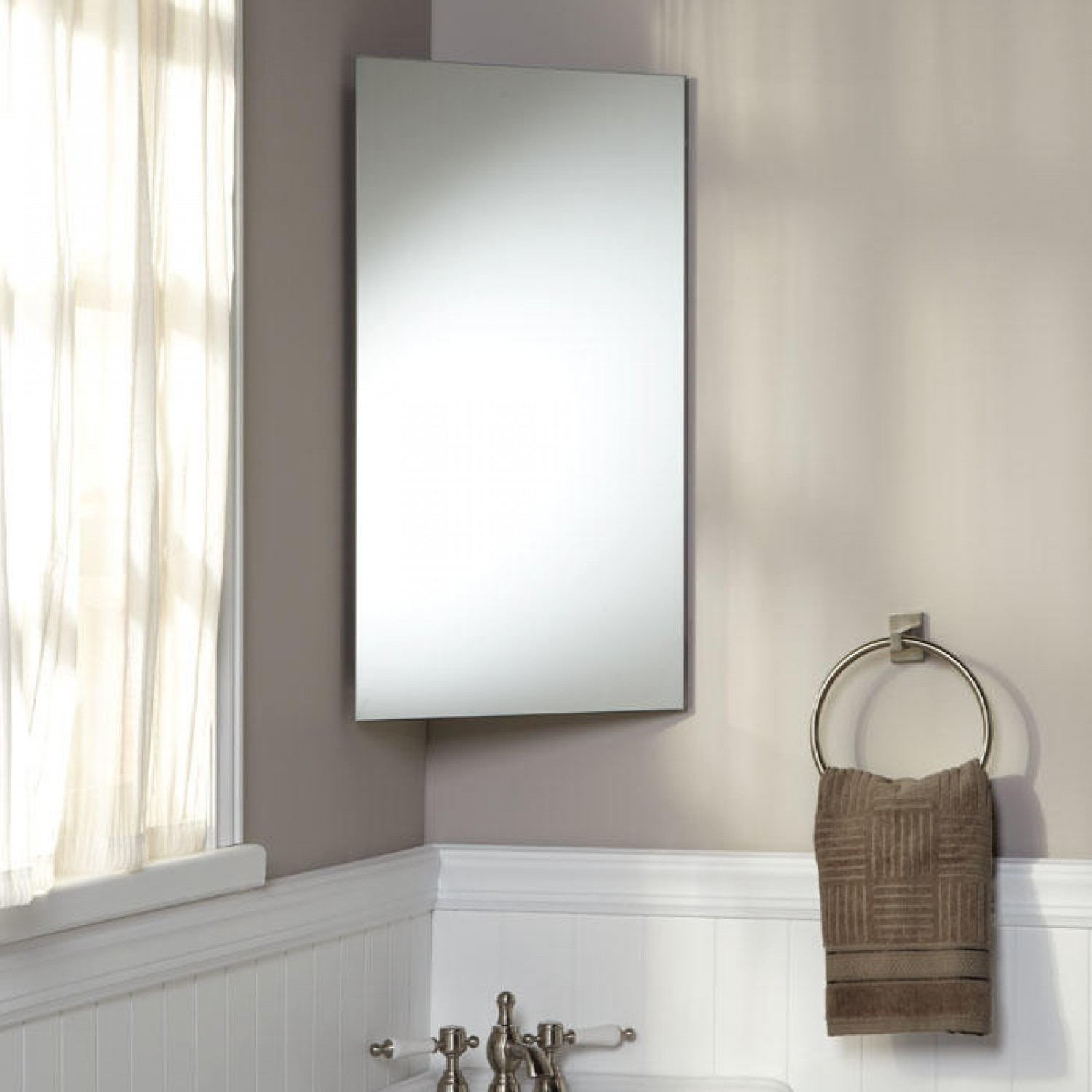 Permalink to Stainless Steel Bathroom Corner Wall Mirror Cabinet