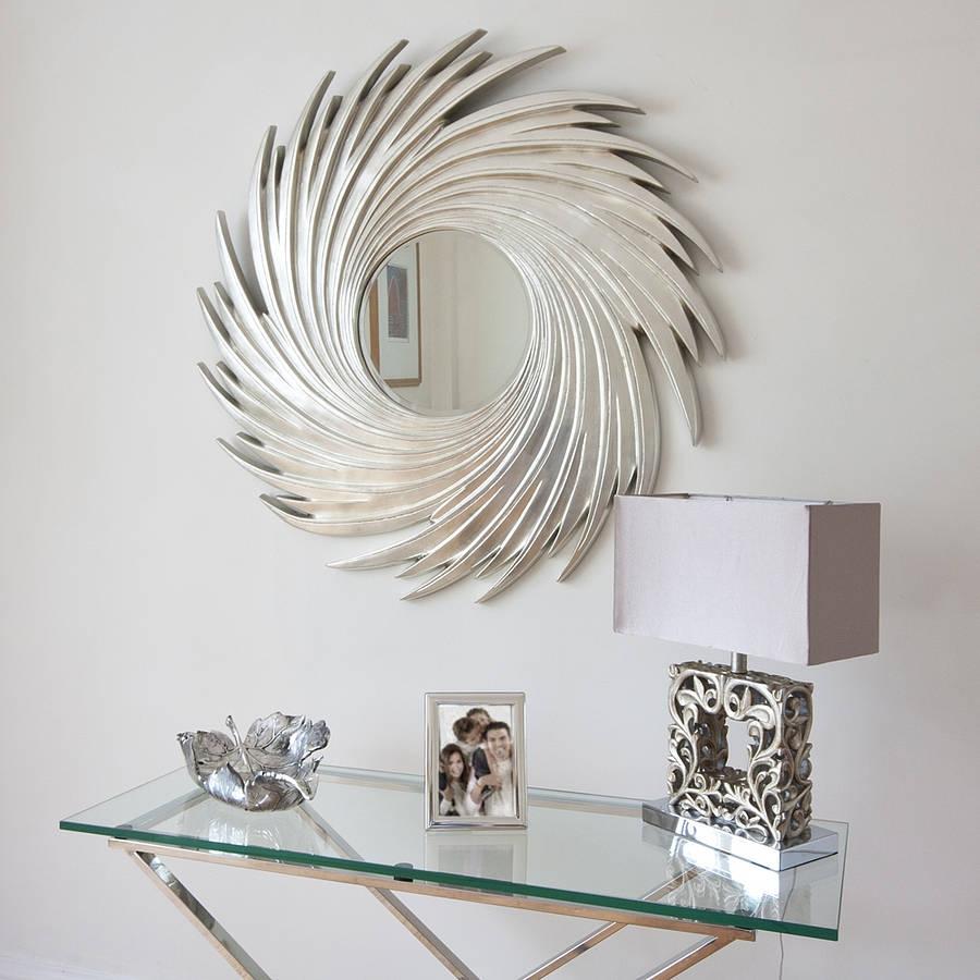 Sunburst Round Silver Swirl Wall Mirror