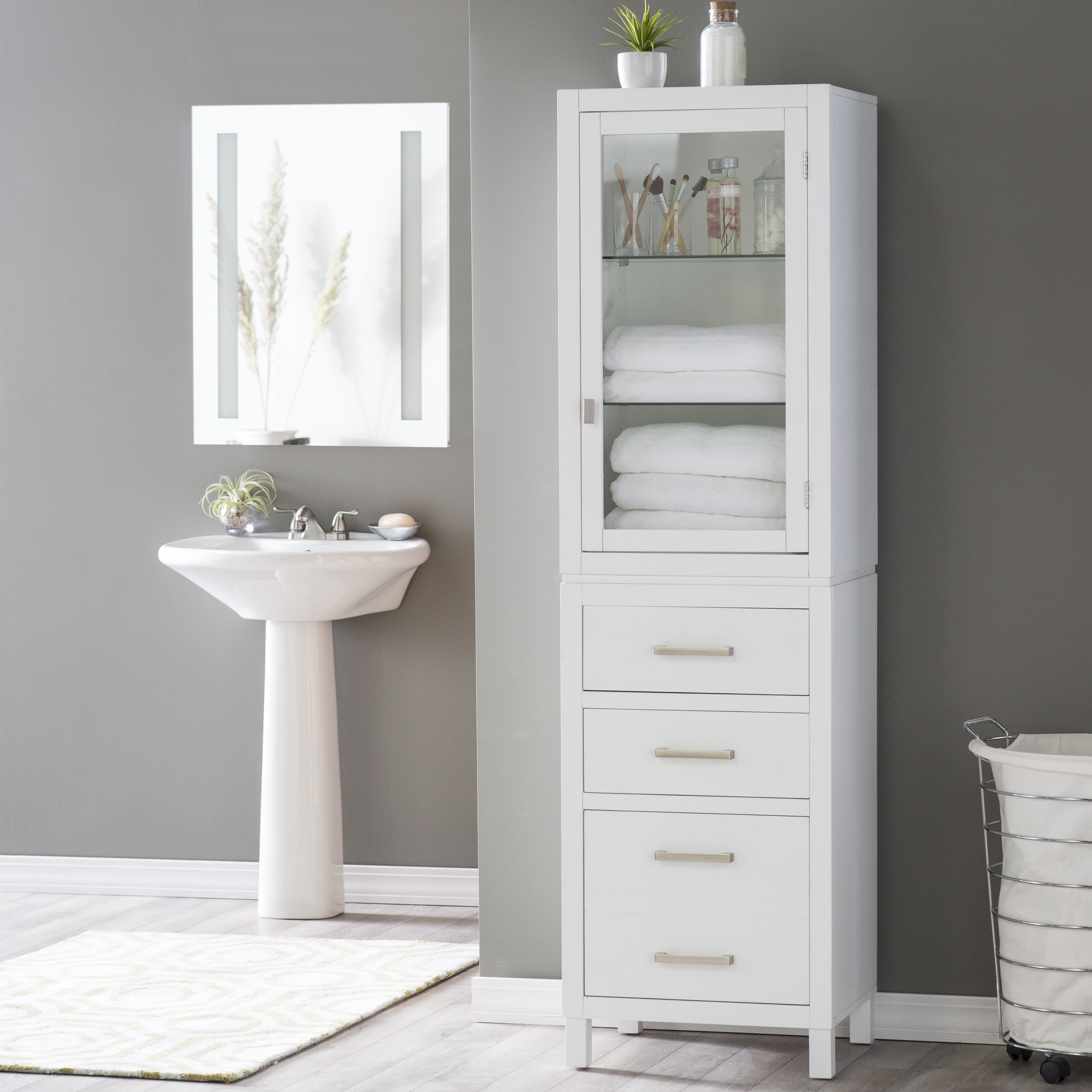 Tall Bathroom Corner Cabinets With