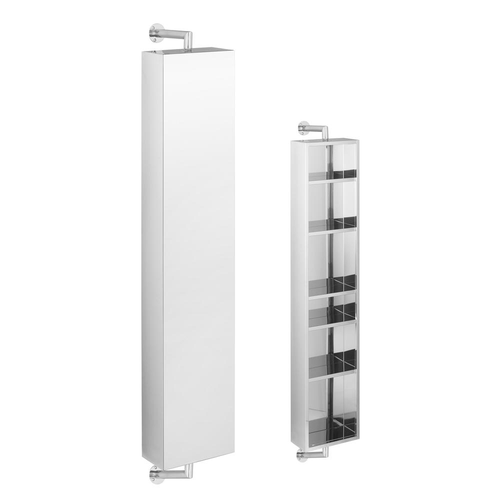 Tall Rotating Mirrored Bathroom Cabinet