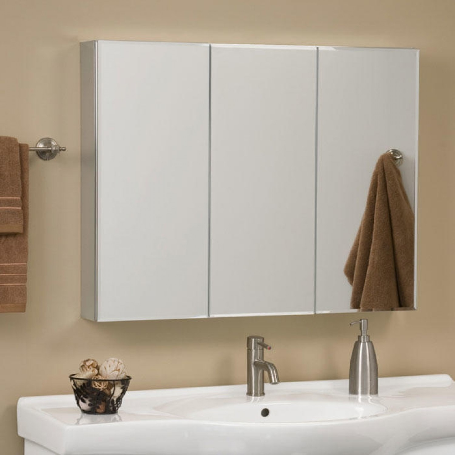 Tri Fold Mirror Bathroom Cabinet