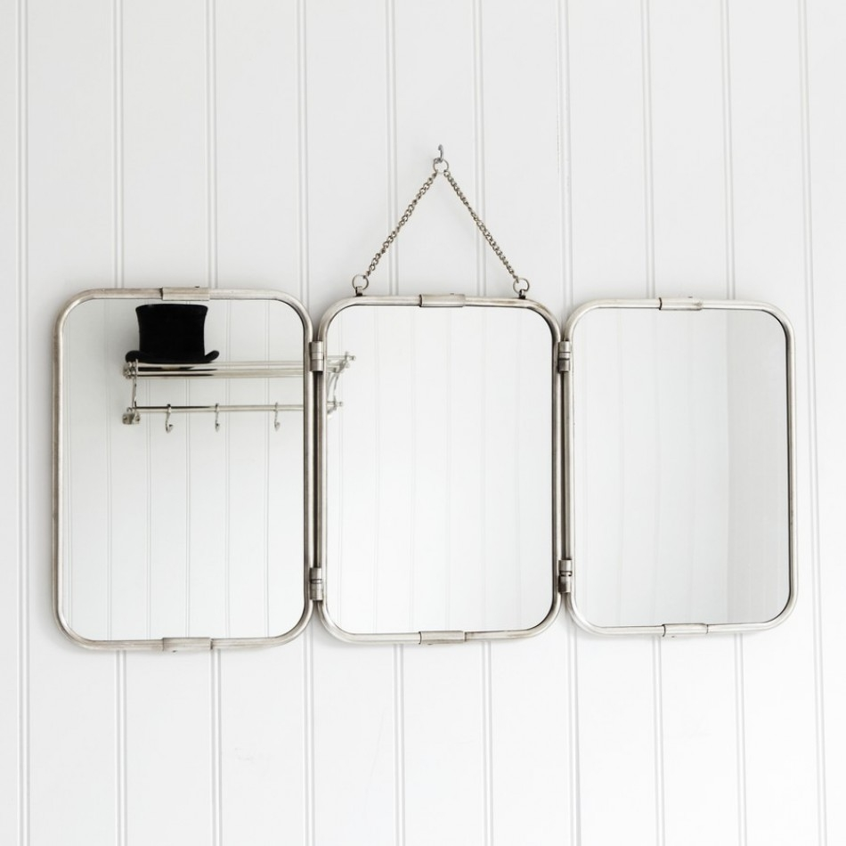 Tri Fold Wall Hung Mirror Bathroom