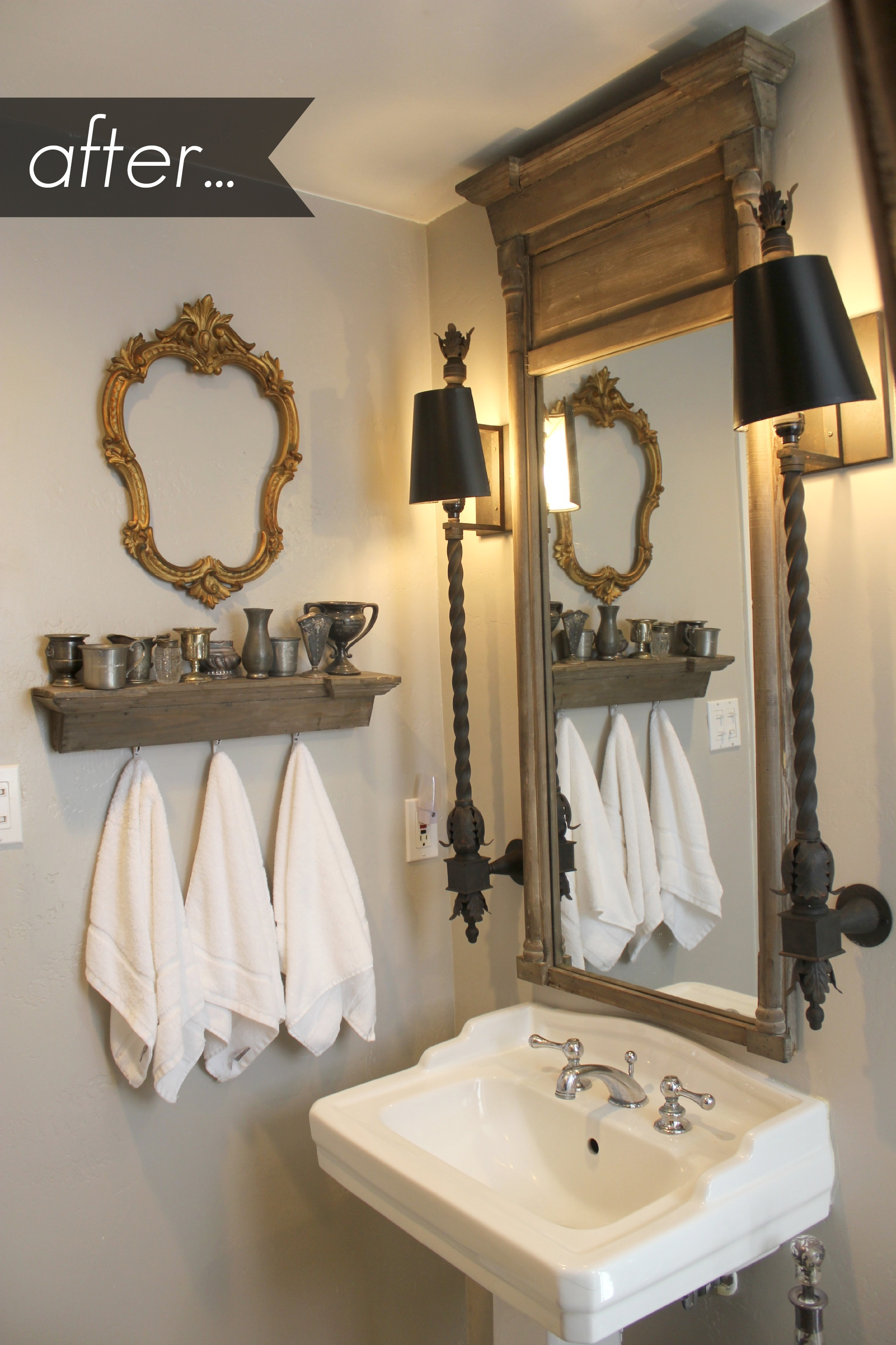 Vintage Bathroom Mirror With Shelf