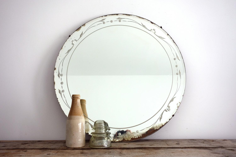 Vintage Etched Bathroom Mirror
