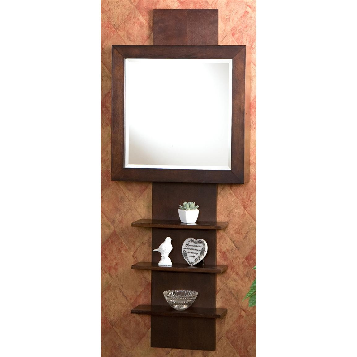 Wall Hanging Mirror With Shelf