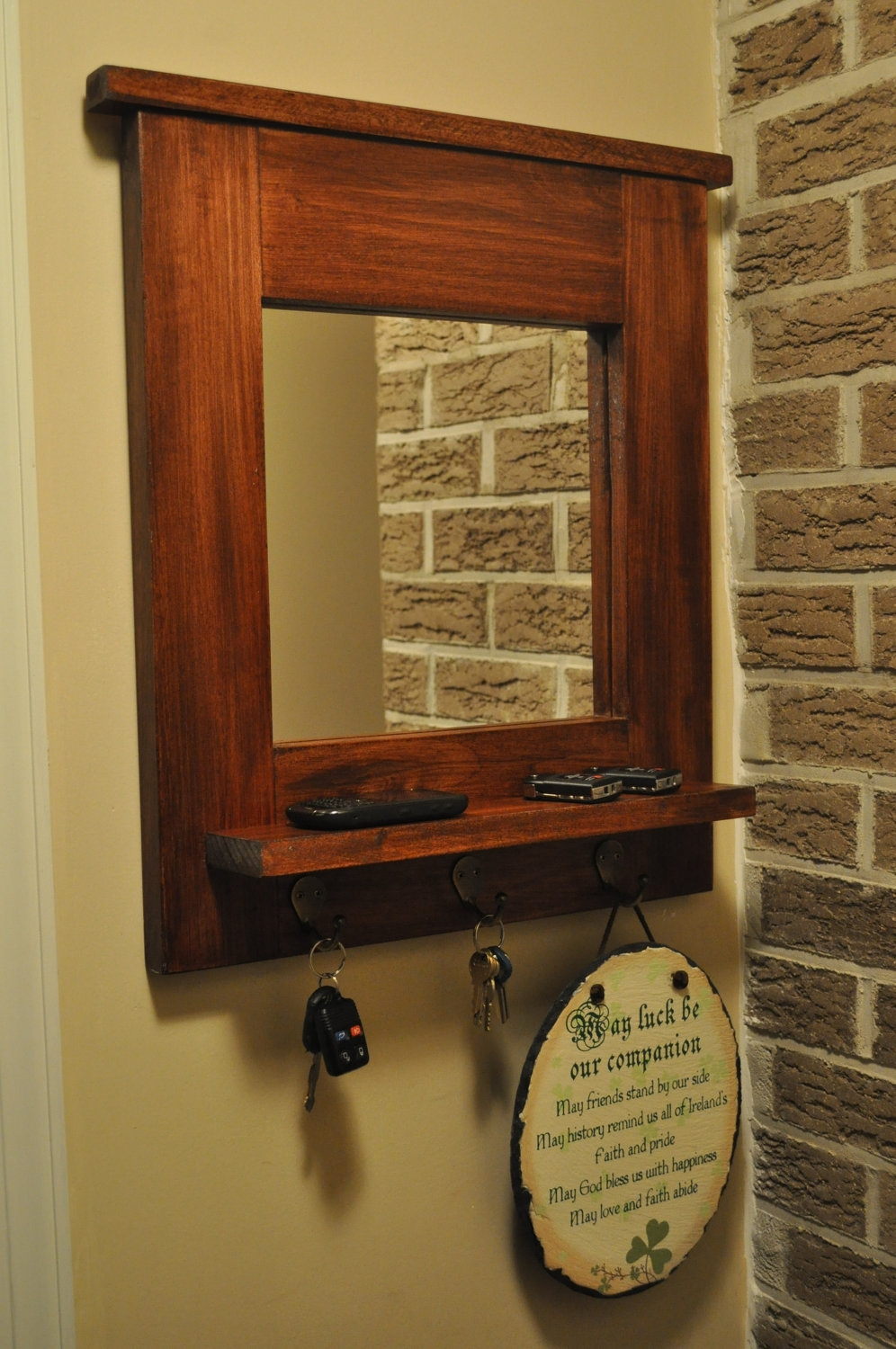 Wall Mirror With Key Hooks