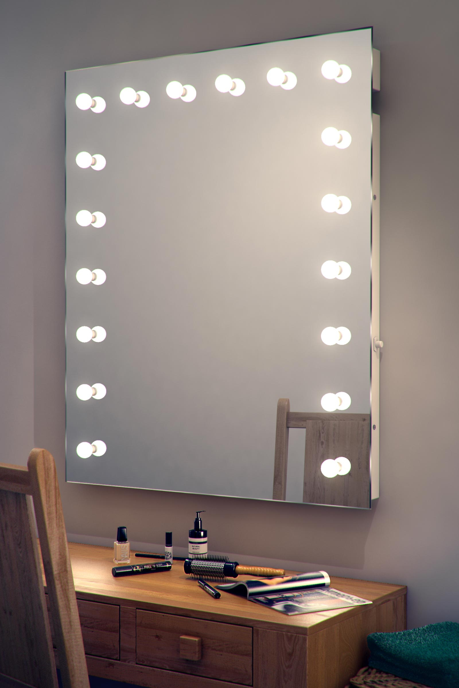 Wall Mirror With Lights Around It