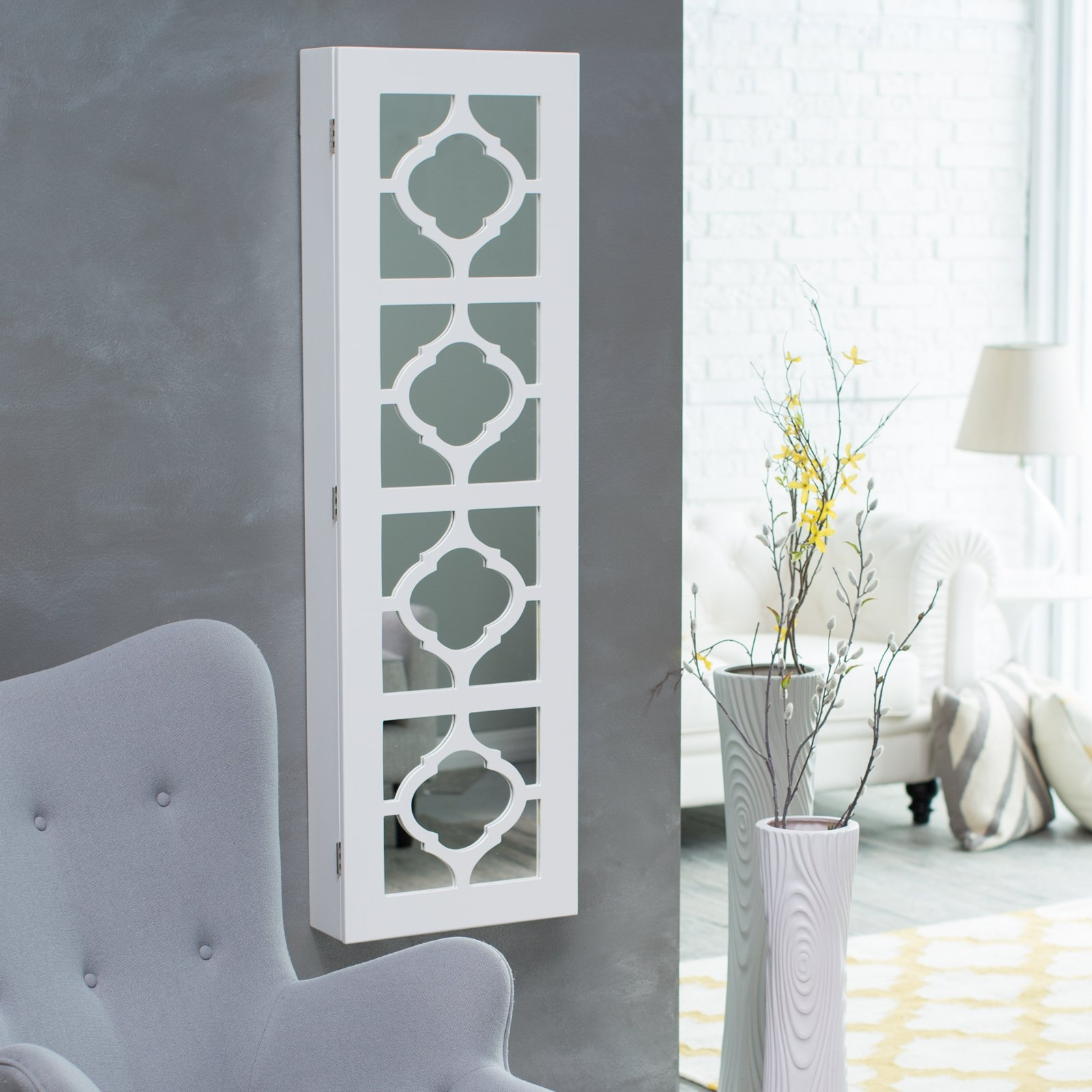 Wall Mount Jewelry Armoire Mirror White