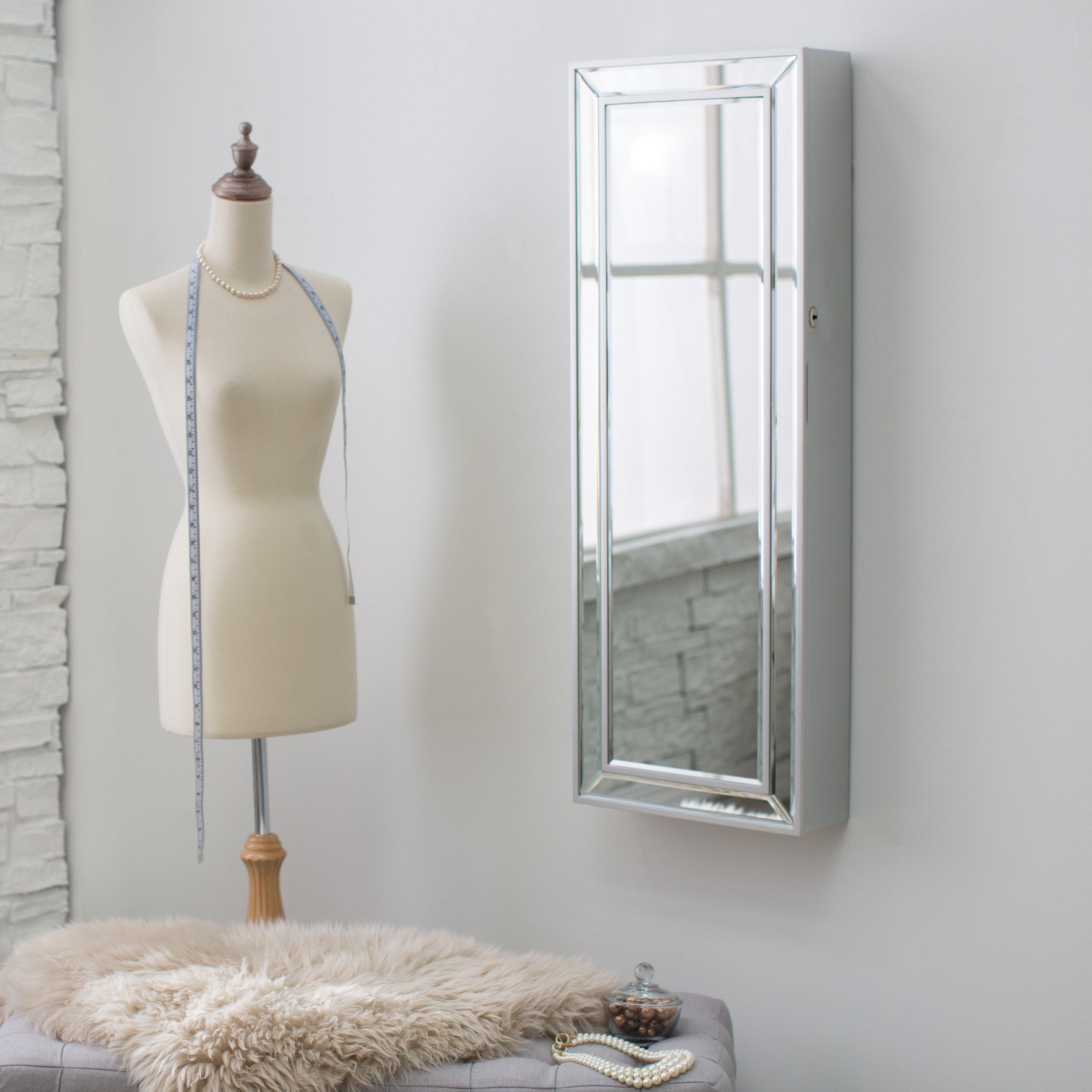 Wall Mount Jewelry Mirror White