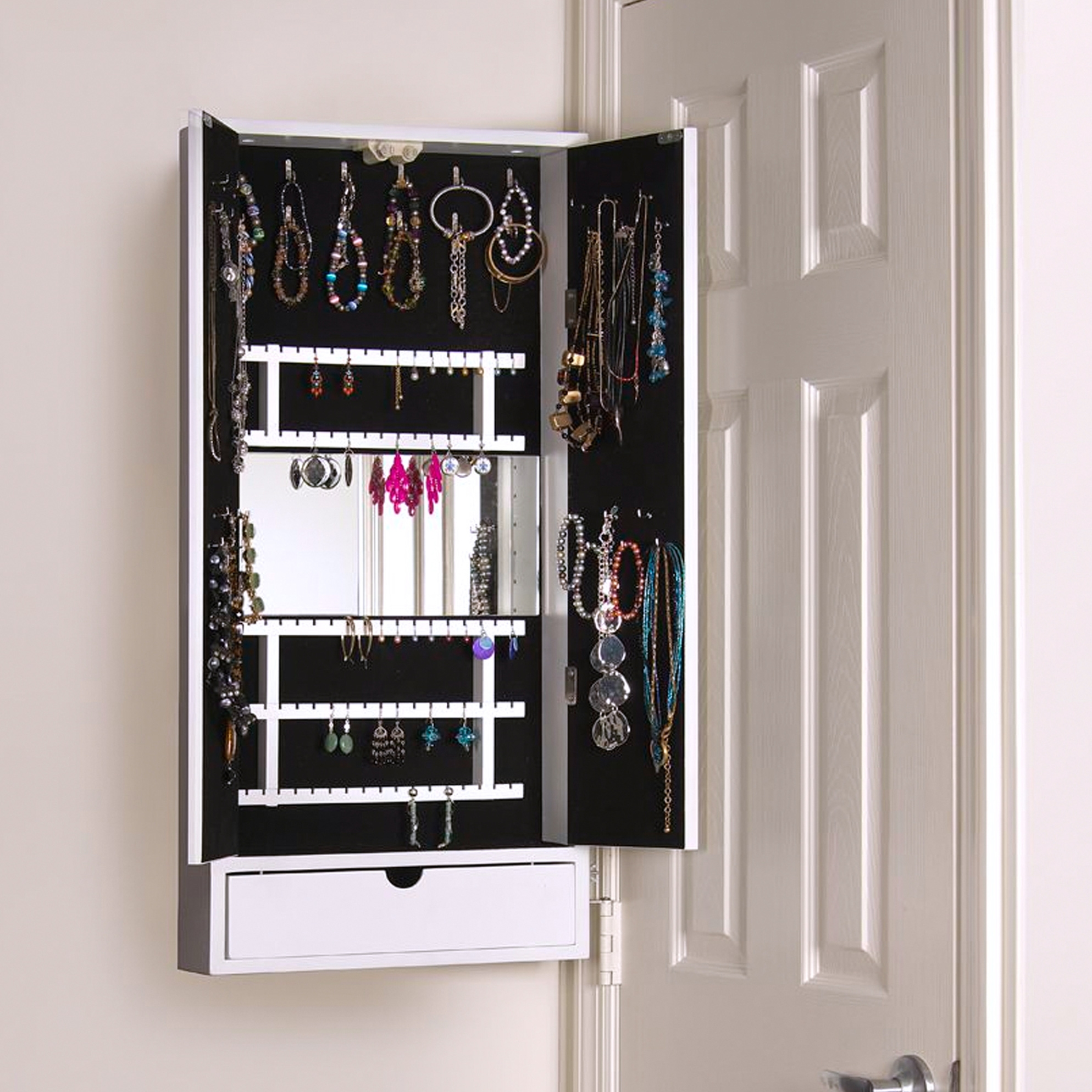 Permalink to Wall Mount Jewelry Storage Mirror