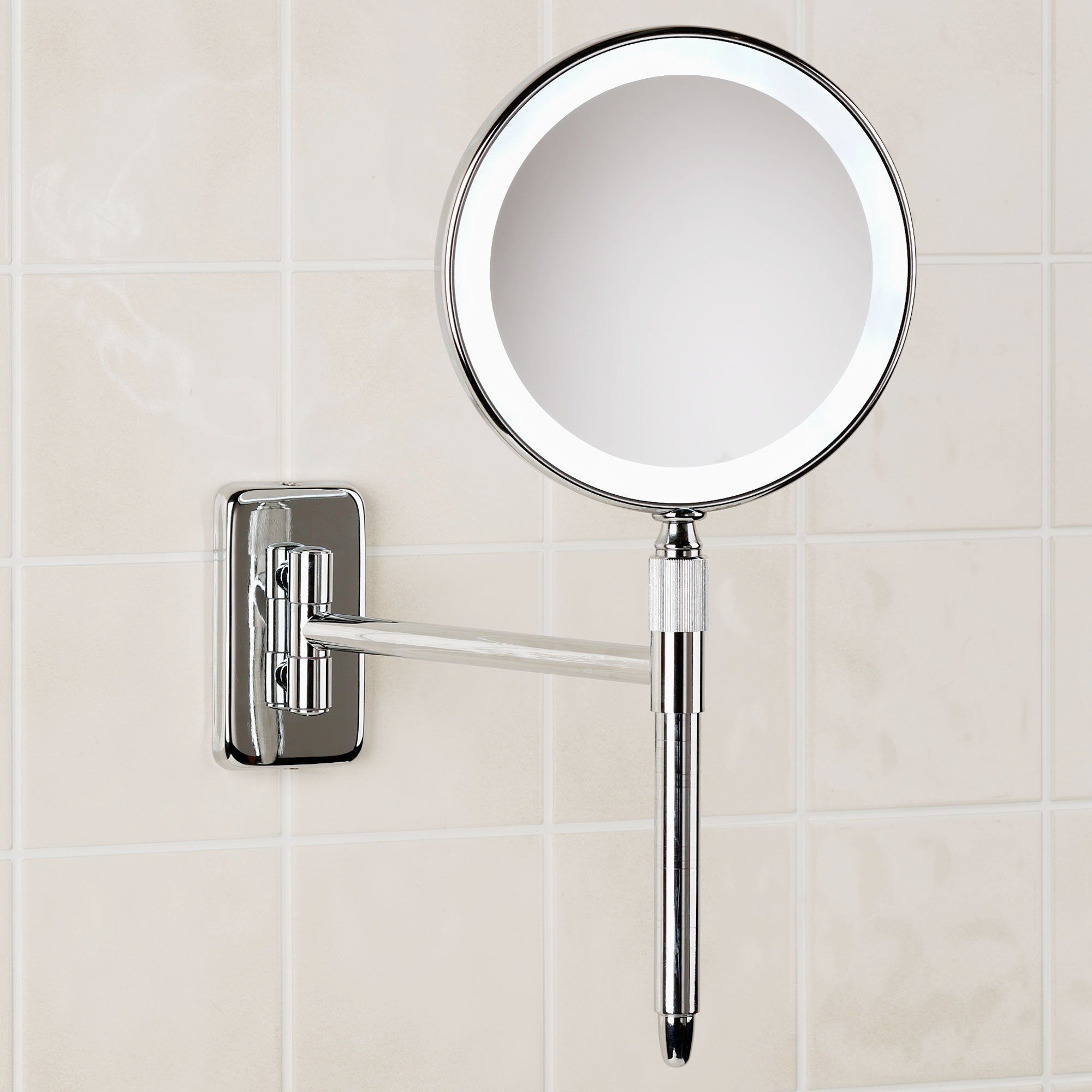 Wall Mount Lighted Makeup Mirror Chrome