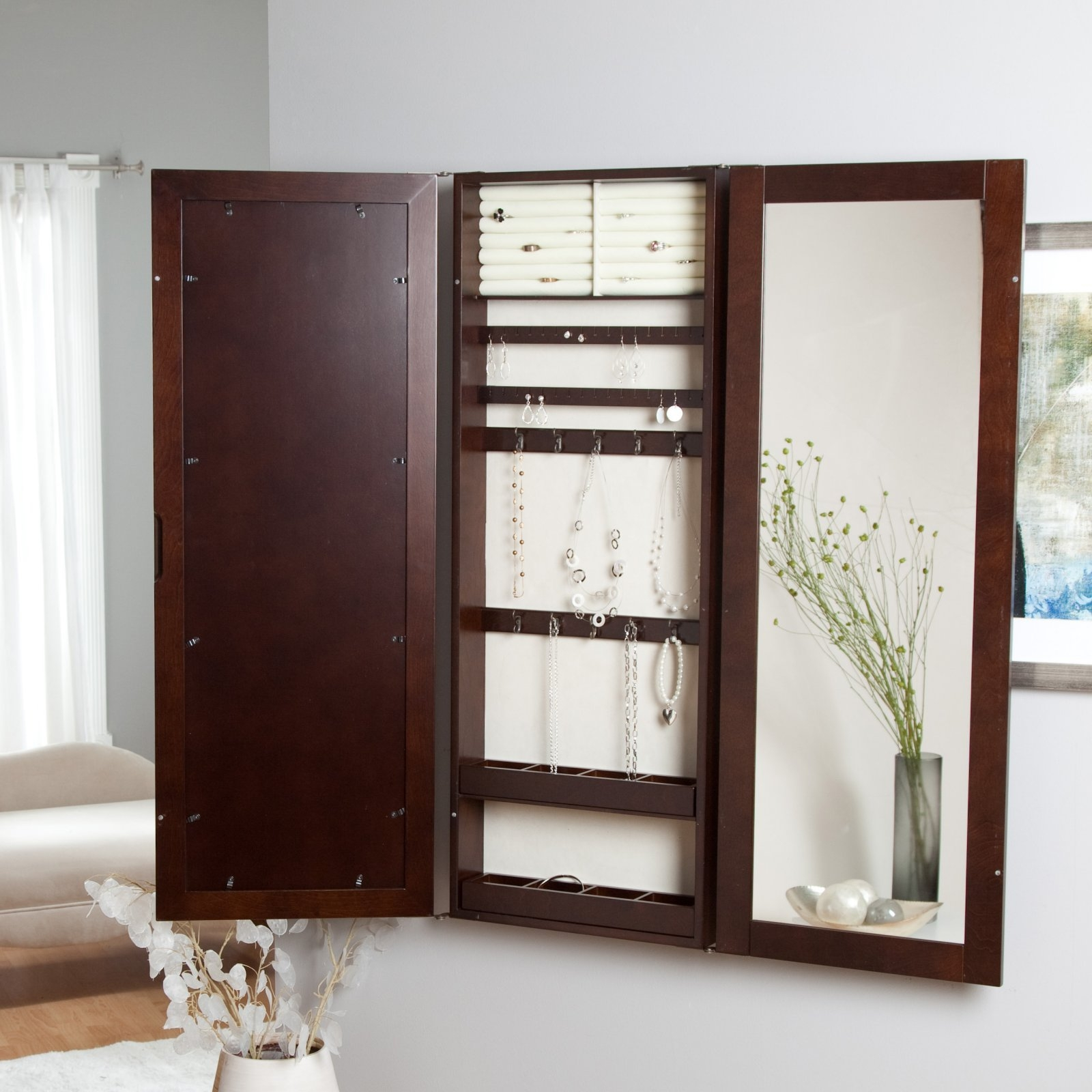 Wall Mounted Full Length Mirror Jewelry Cabinet