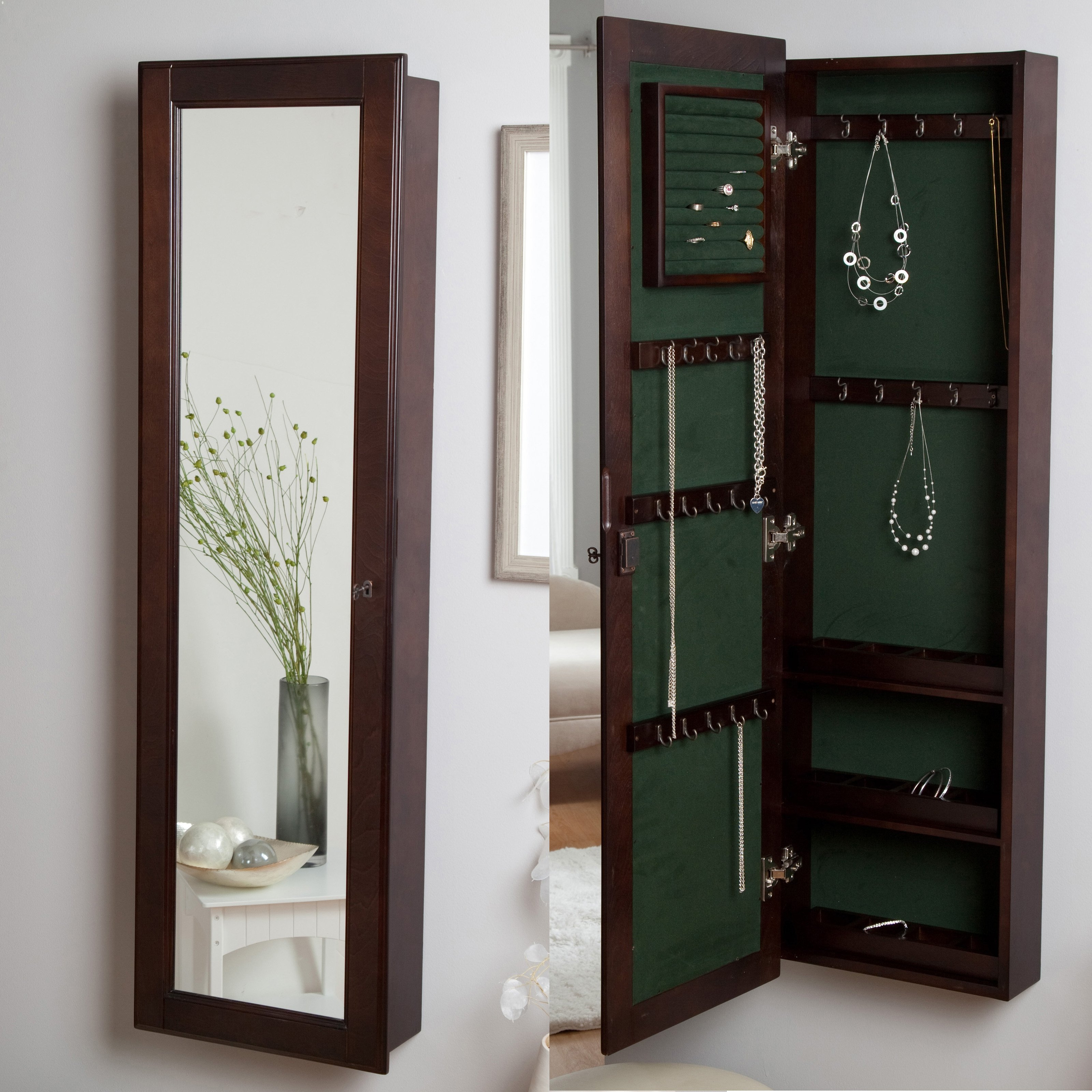Wall Mounted Jewelry Storage Mirror