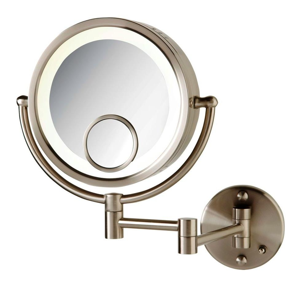 Wall Mounted Makeup Mirror Brushed Nickel