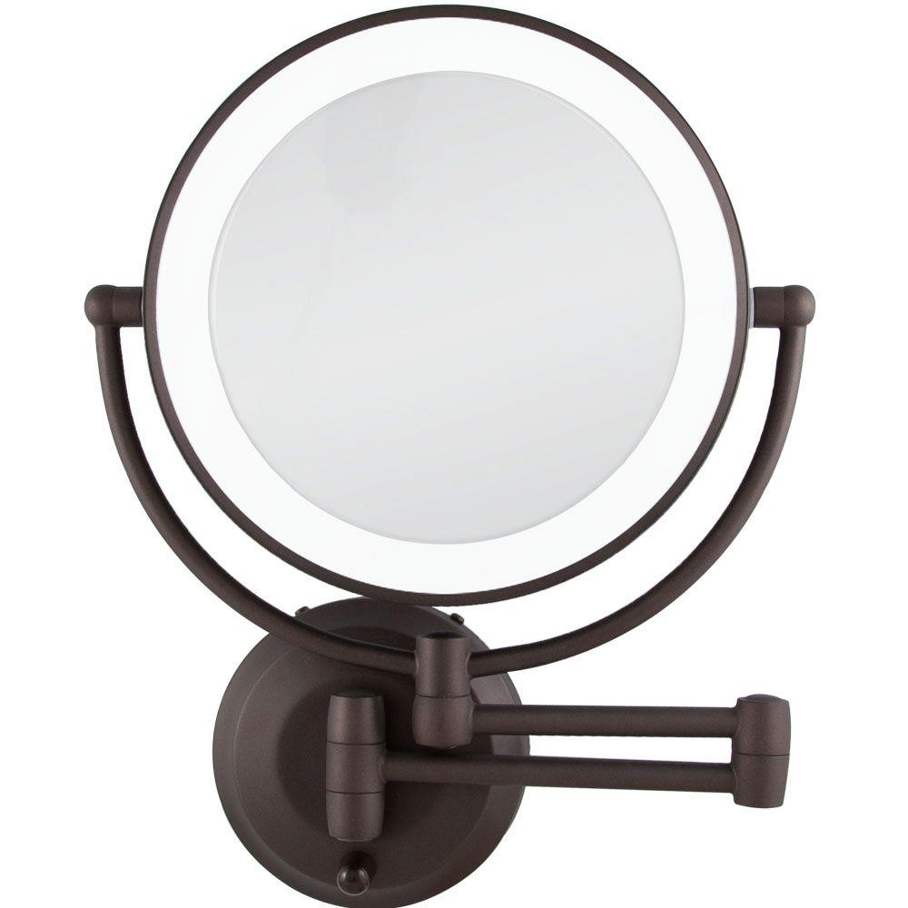 Wall Mounted Makeup Mirror With Light Bronze