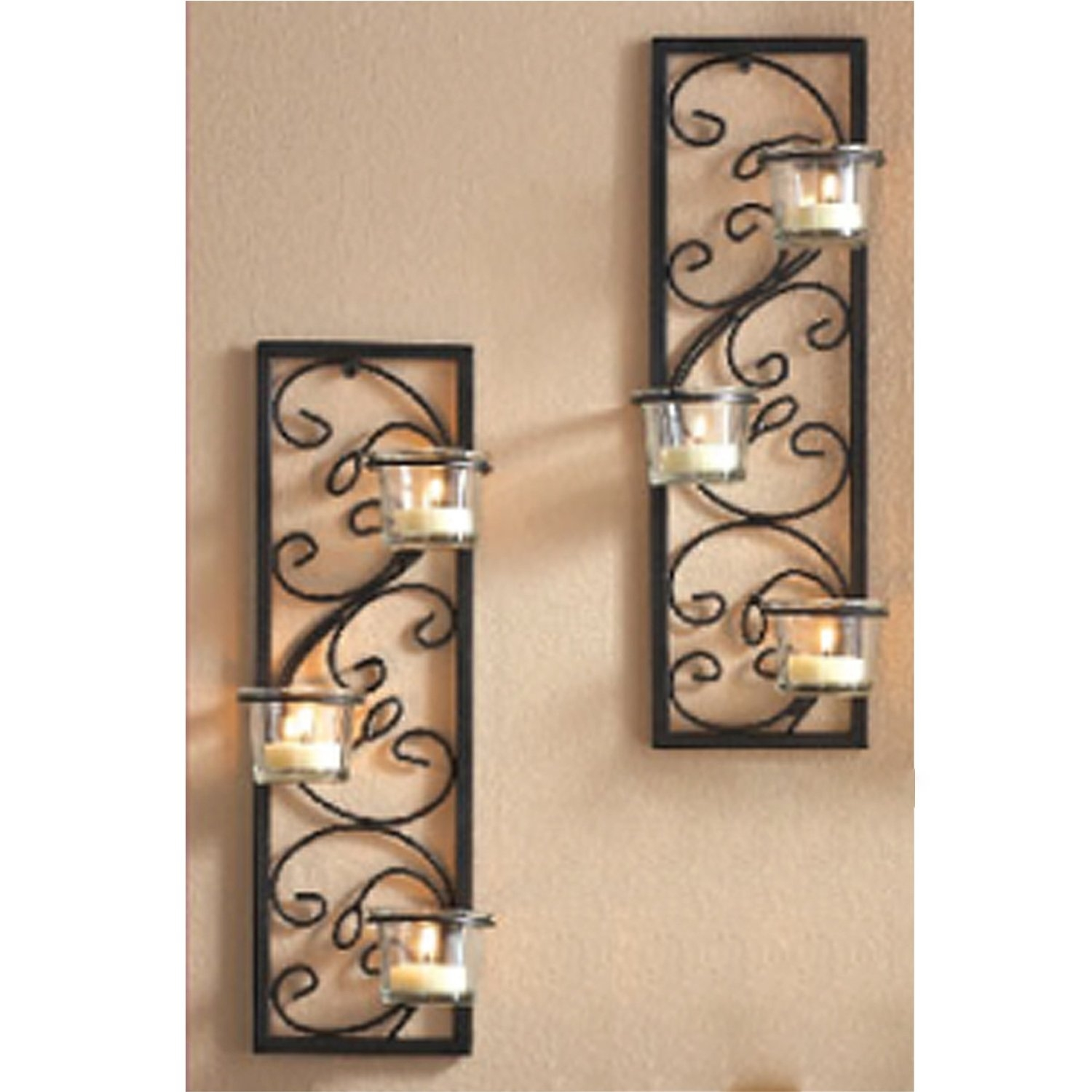 Wall Mounted Mirrored Candle Holders