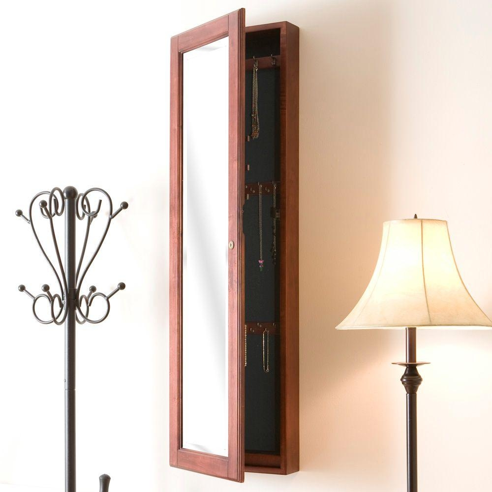 Wall Mounted Mirrored Jewelry Armoire Cherry