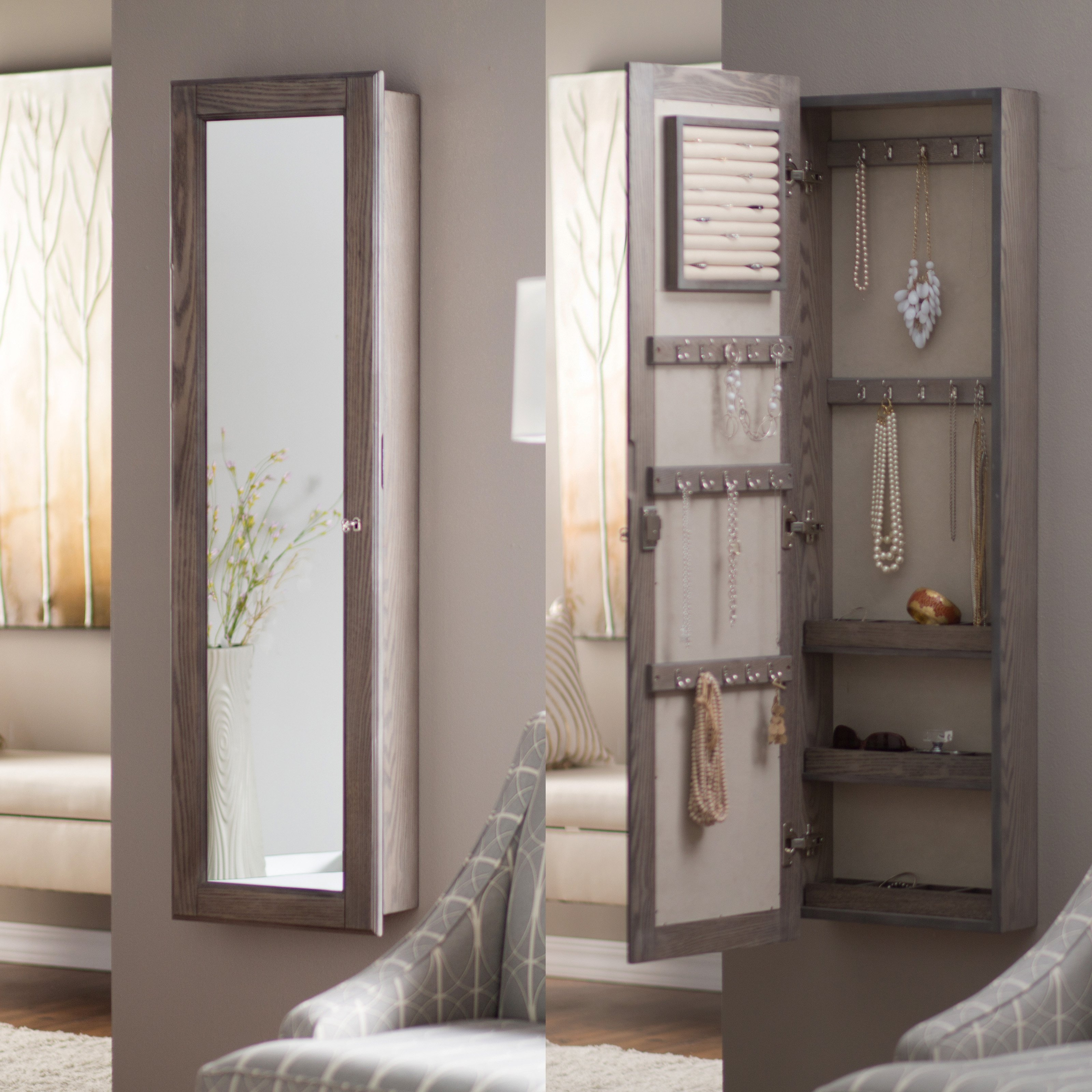 Wall Mounted Mirrored Jewelry Armoire