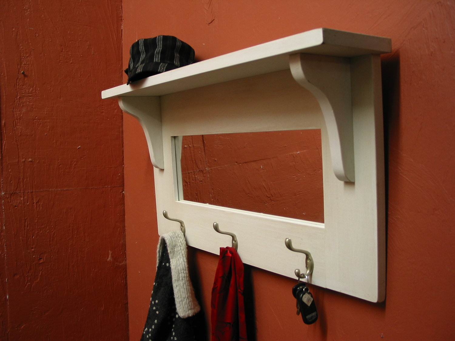 Wall Shelf With Mirror And Hooks