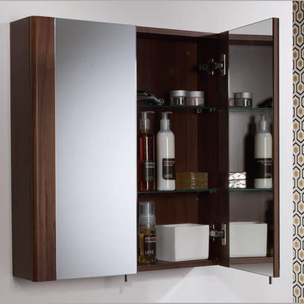 Walnut Bathroom Mirror Cabinet