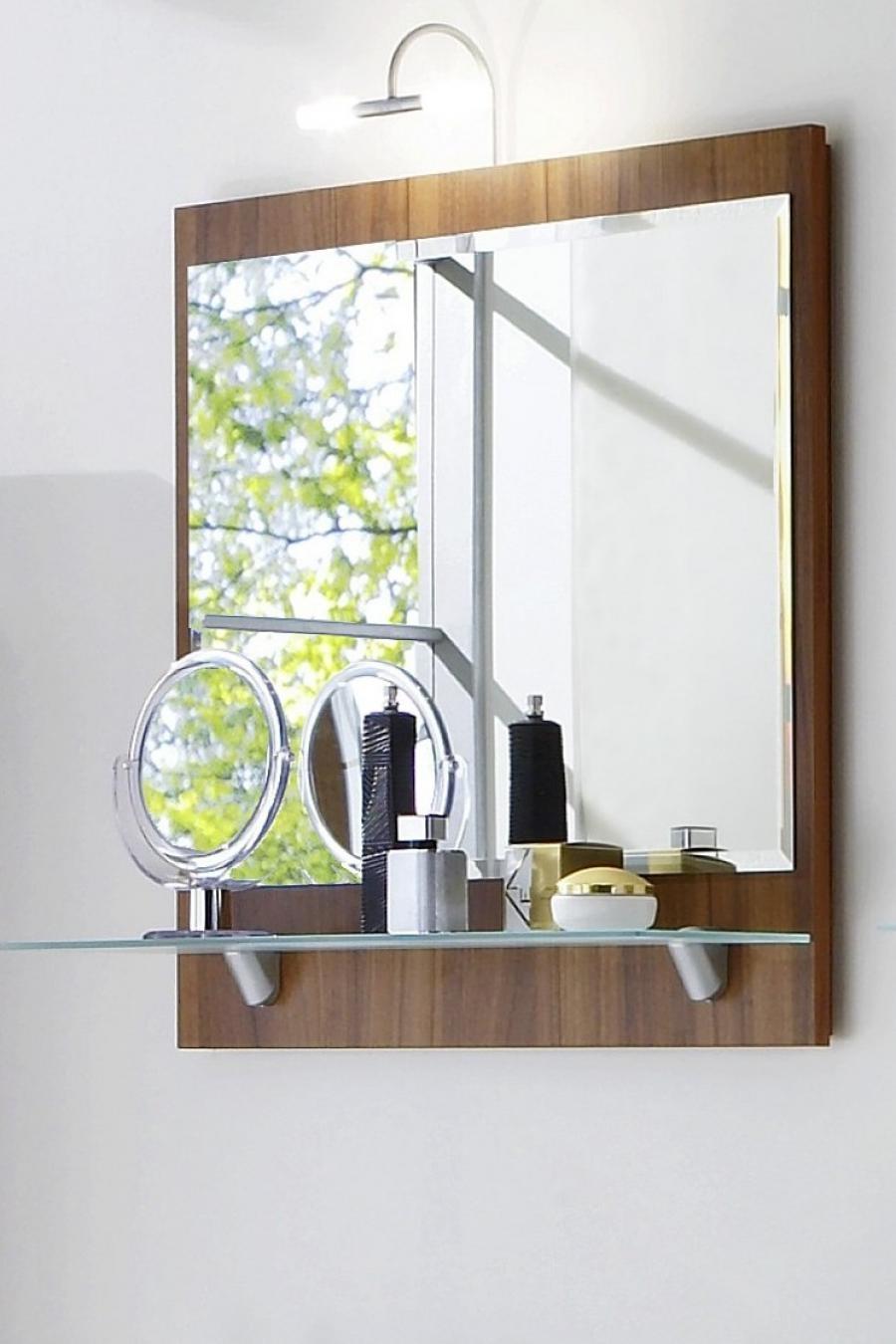 Walnut Bathroom Mirror With Shelf