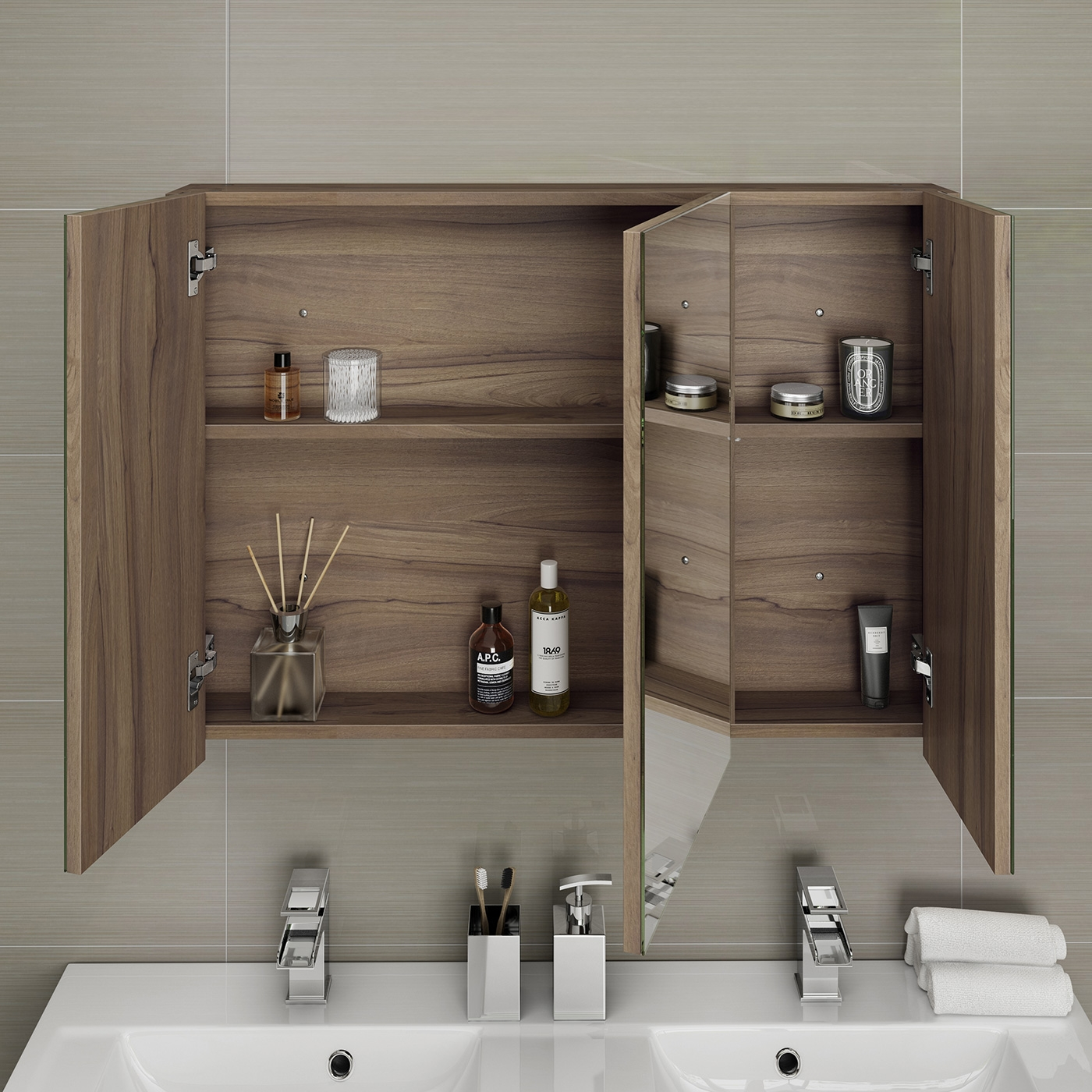 Walnut Effect Bathroom Mirrormodern triple door bathroom mirror cabinet storage unit furniture