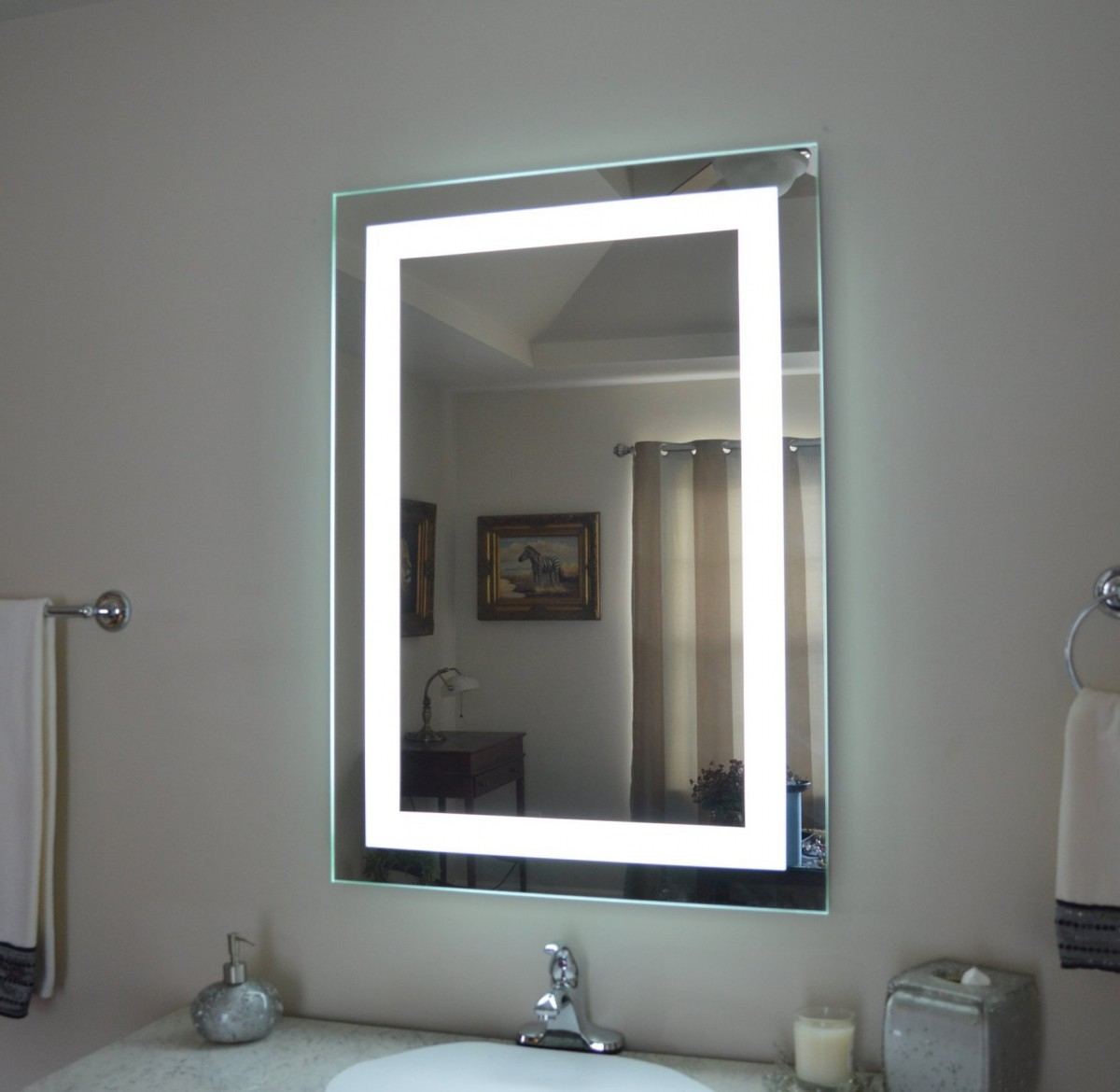 White Bathroom Mirror Cabinet With Lights 750mm