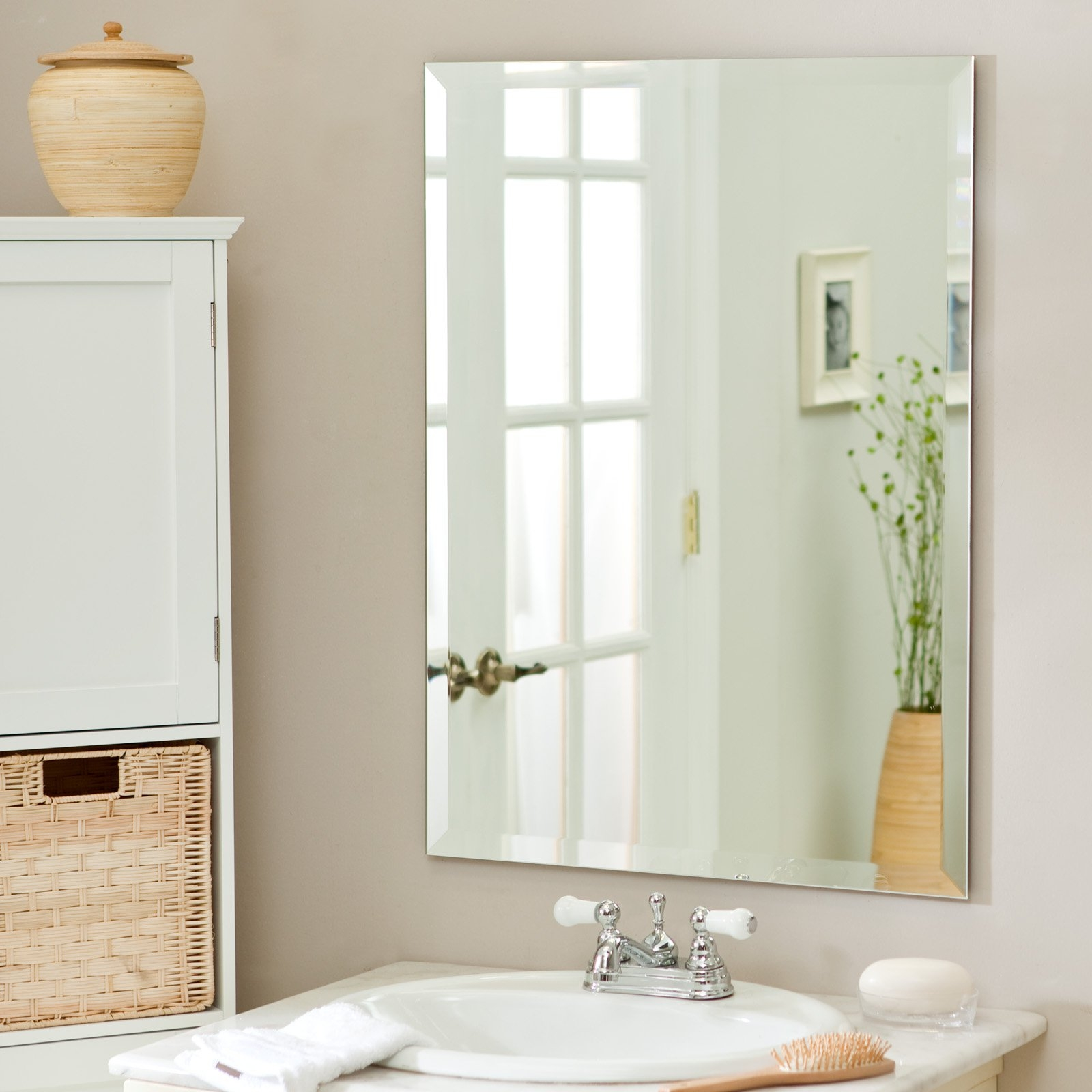 White Beveled Mirror Bathroom