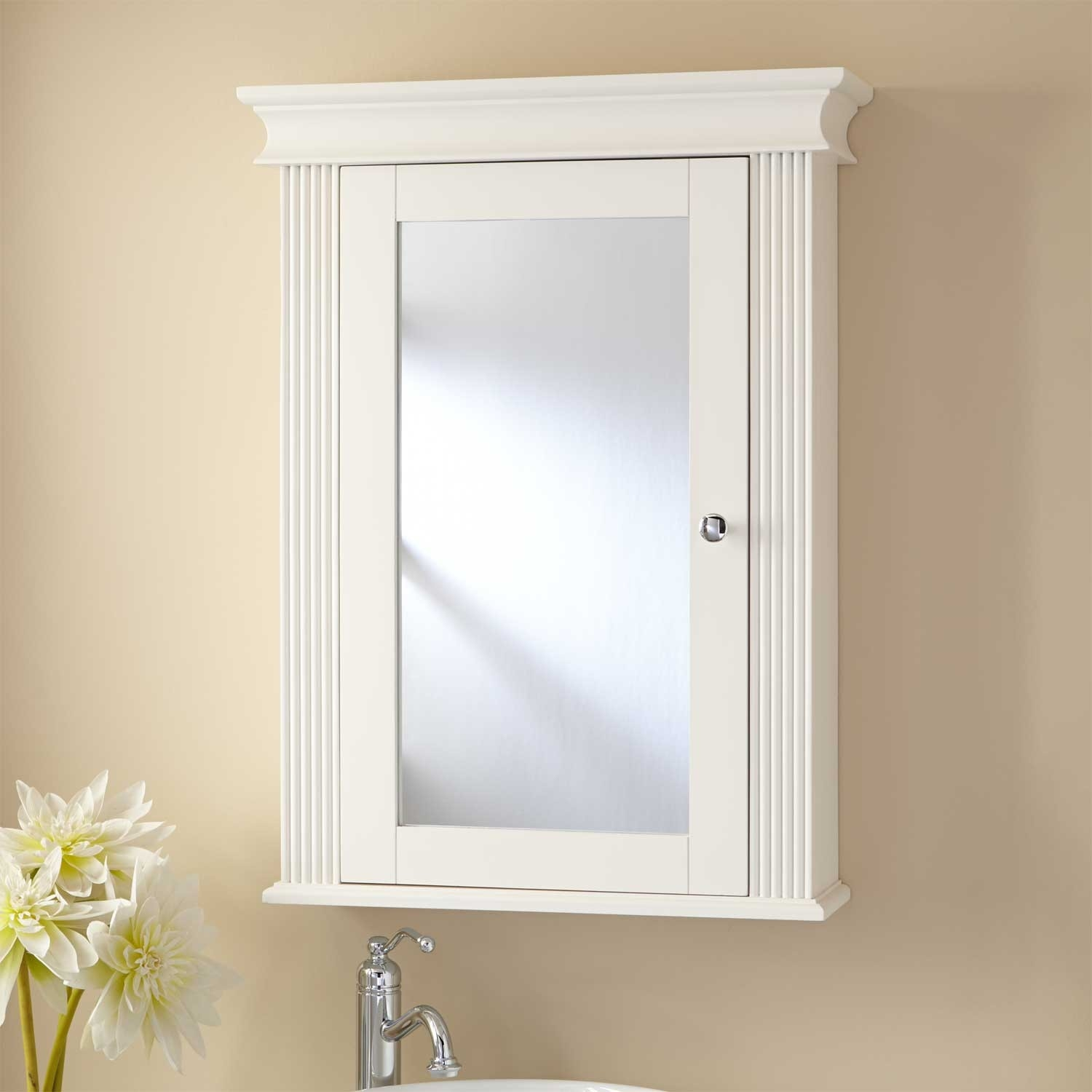 White Colonial Wall Mounted Bathroom Mirrored Cabinet