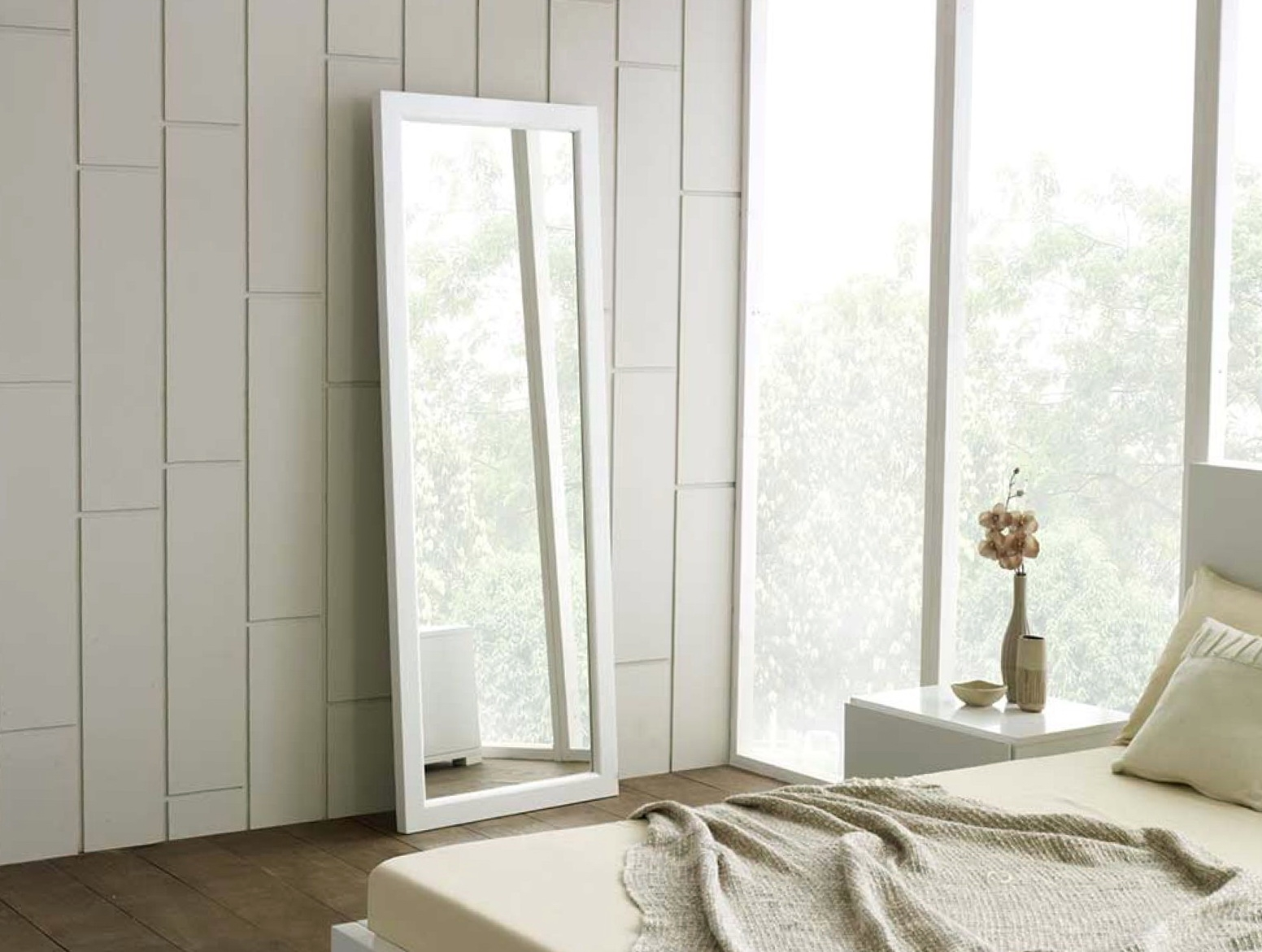 White Framed Long Wall Mirror