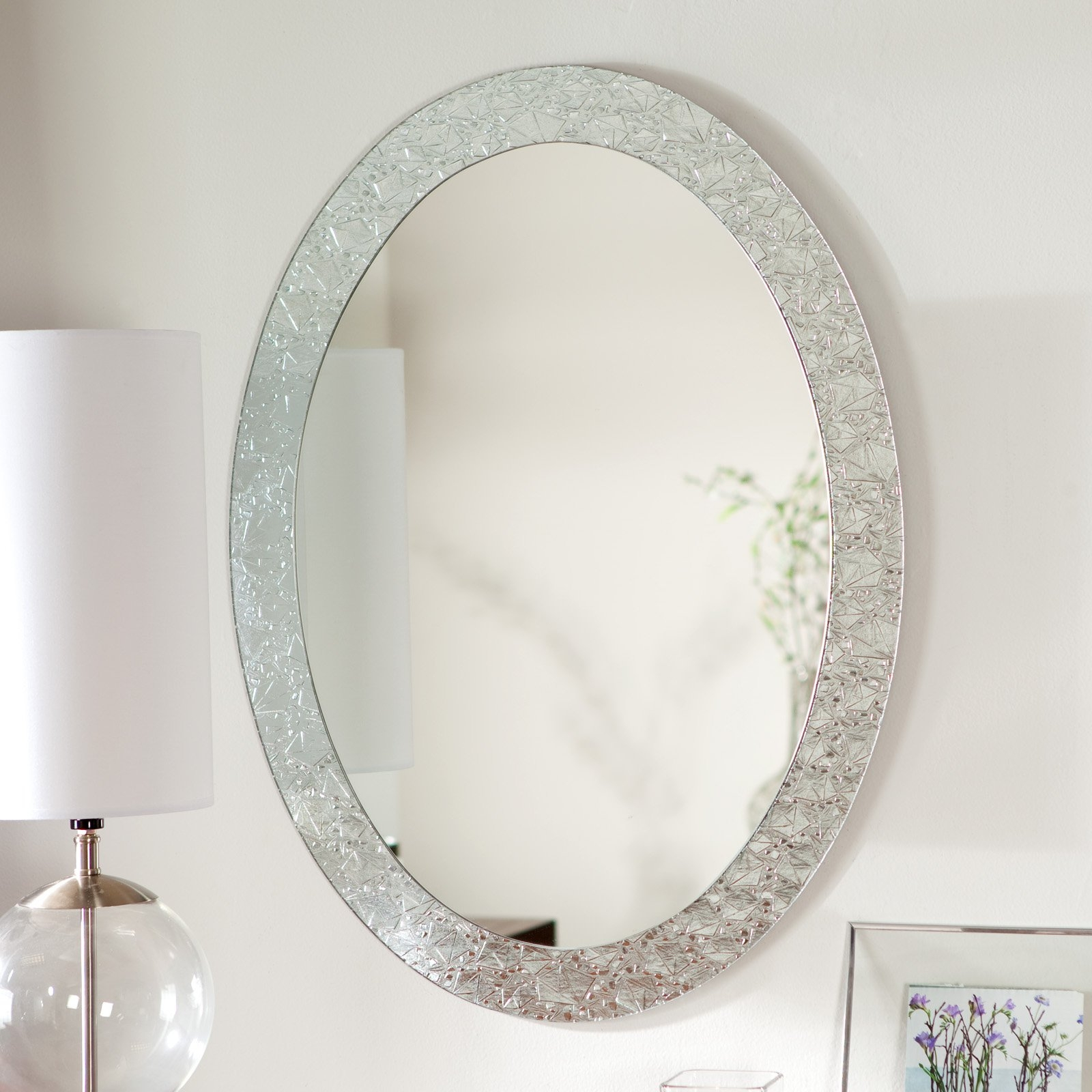 White Framed Oval Bathroom Mirrors