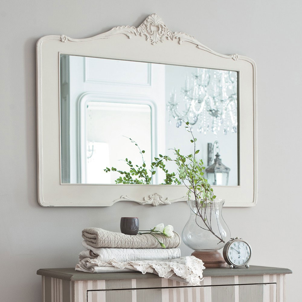 Permalink to White Framed Rectangular Bathroom Mirror