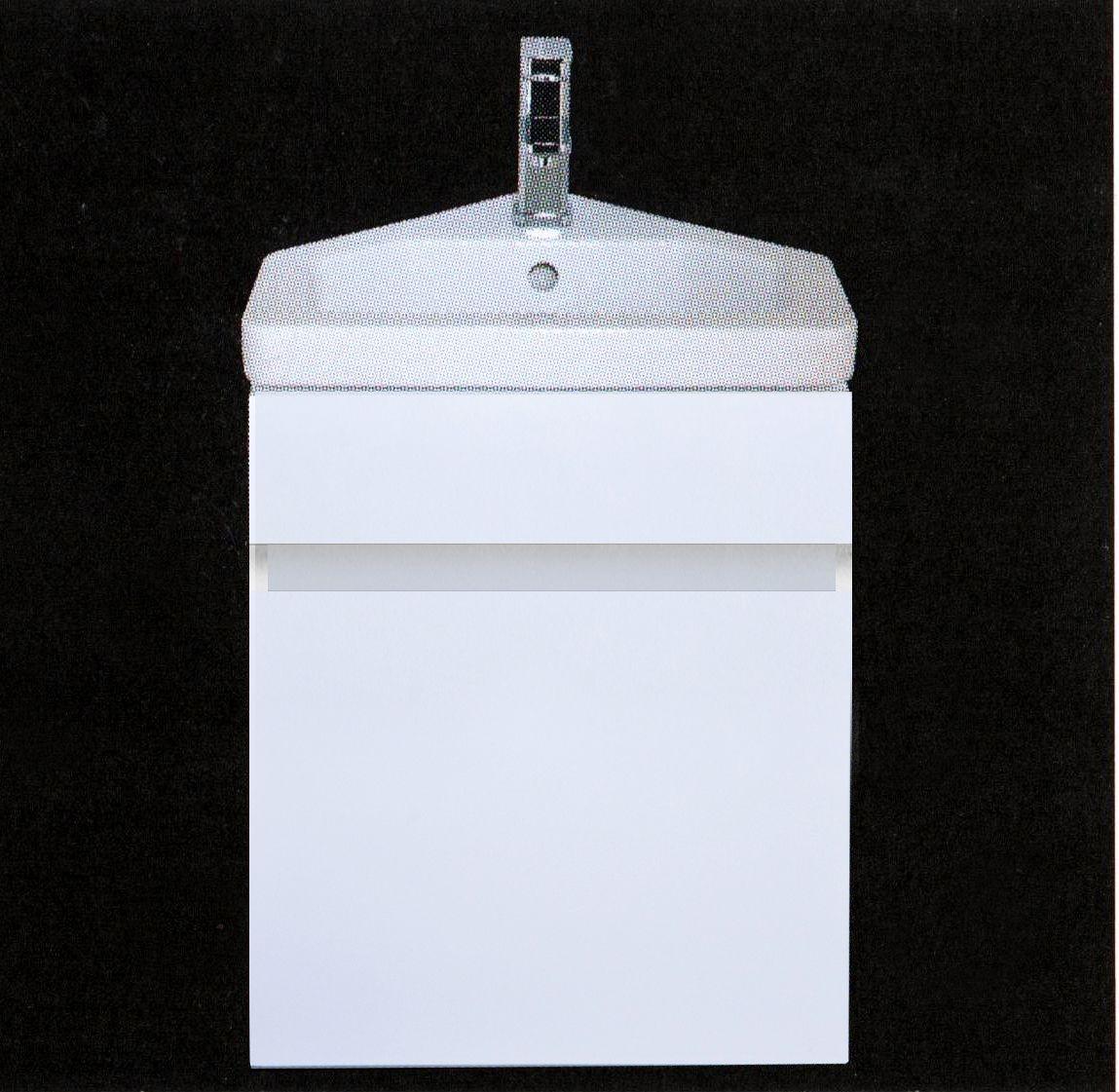 White Gloss Mirrored Bathroom Cabinet 500mm