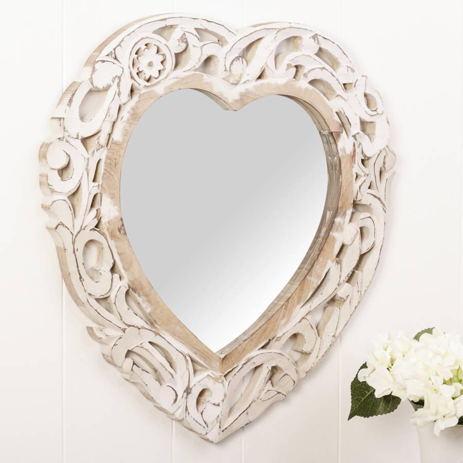 White Heart Shaped Wall Mirror