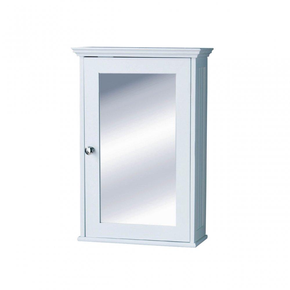 White Mirrored Corner Bathroom Cabinet