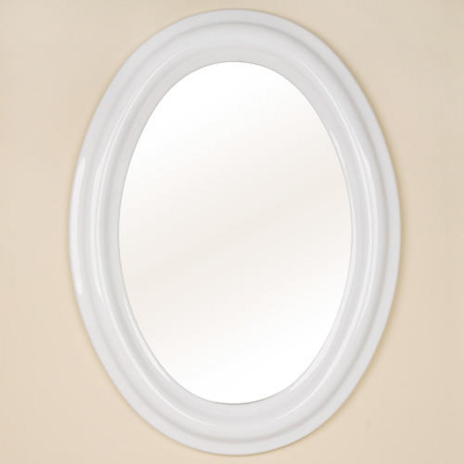 White Oval Mirror For Bathroom