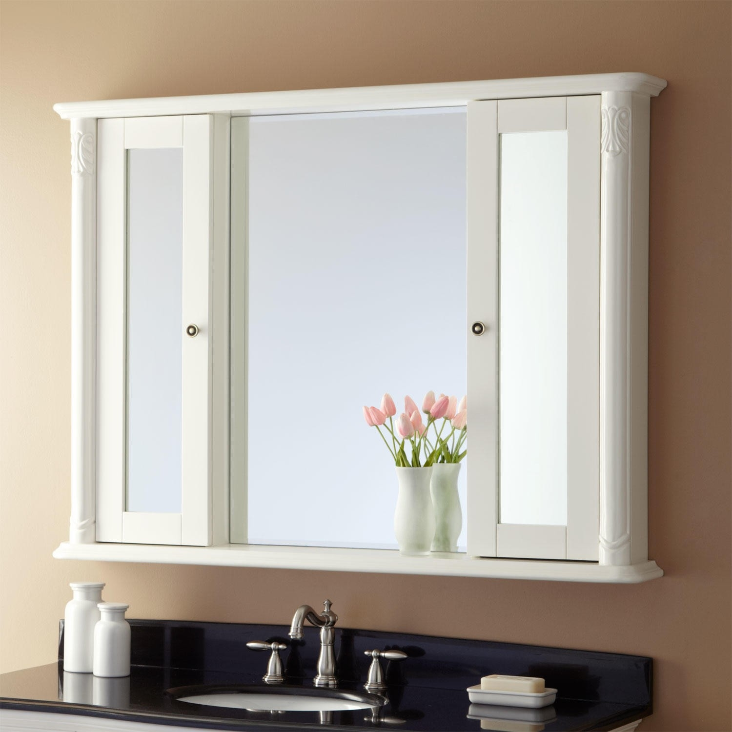 White Wall Cabinet With Mirror