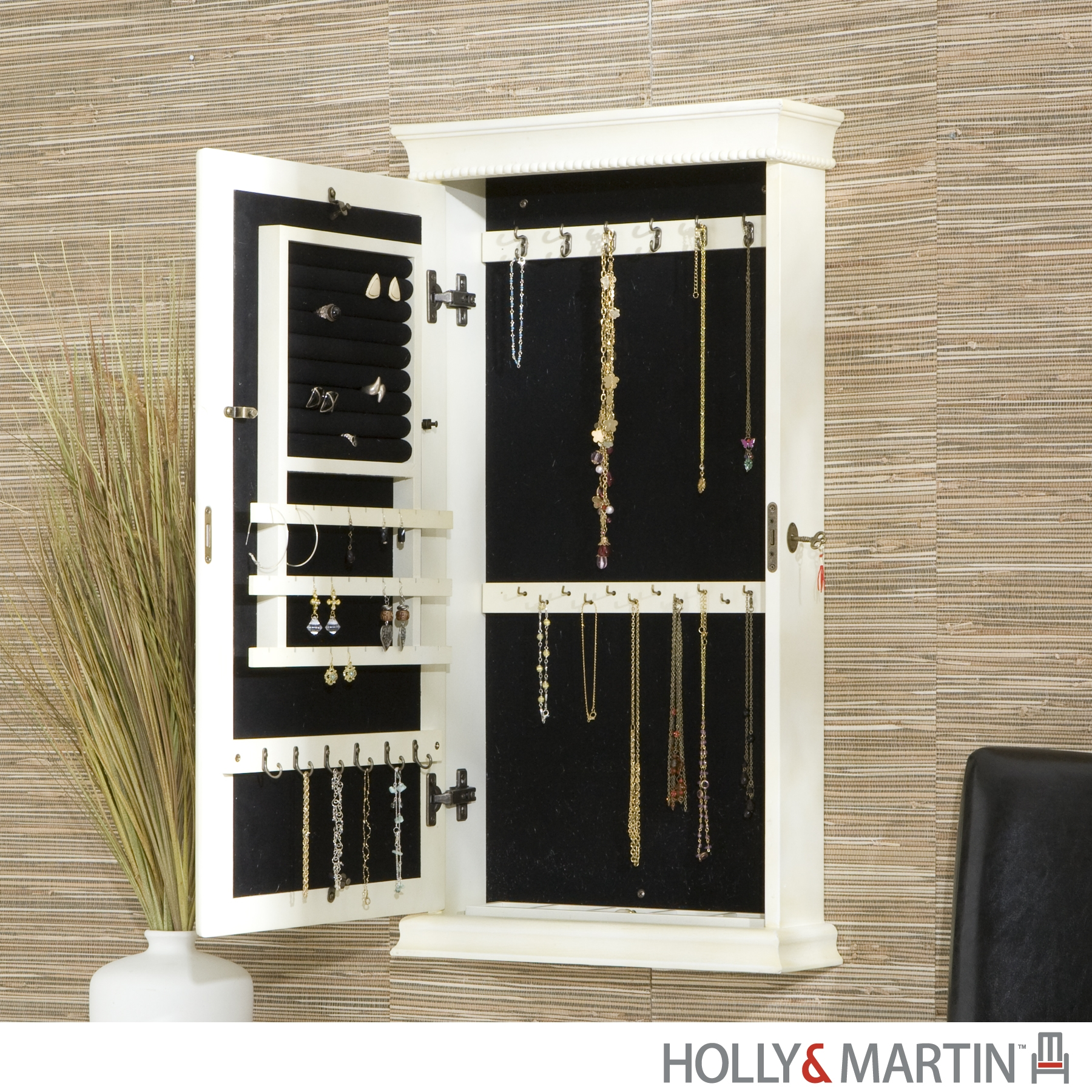White Wall Mirror Jewelry Cabinet