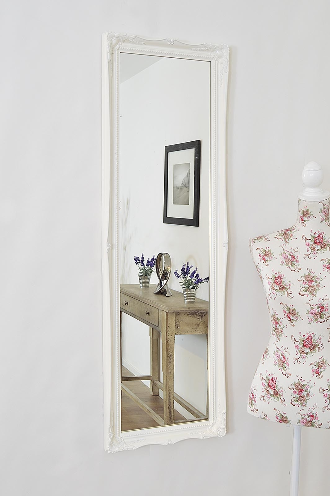 White Wall Mirror With Shelf