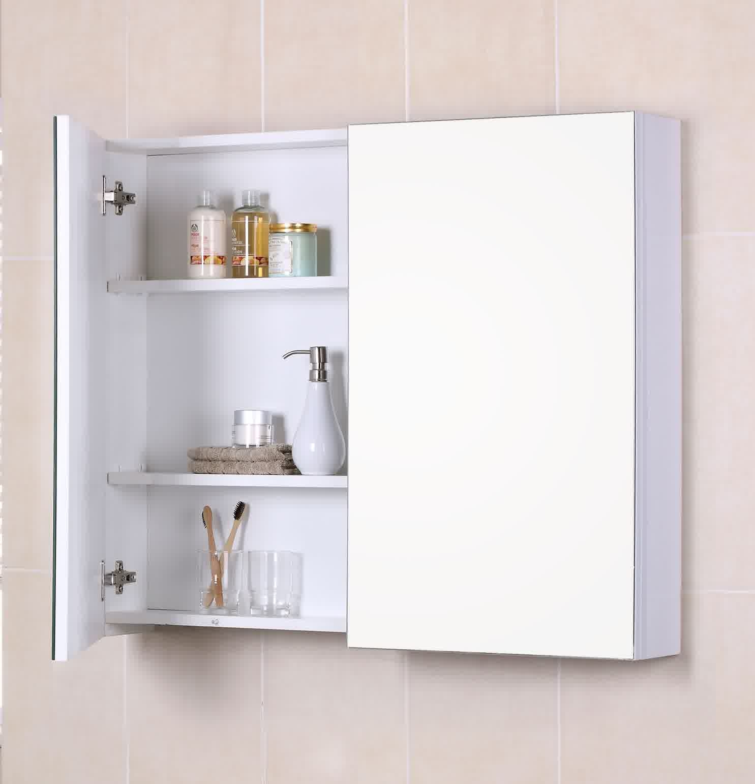 White Wall Mirror With Storage